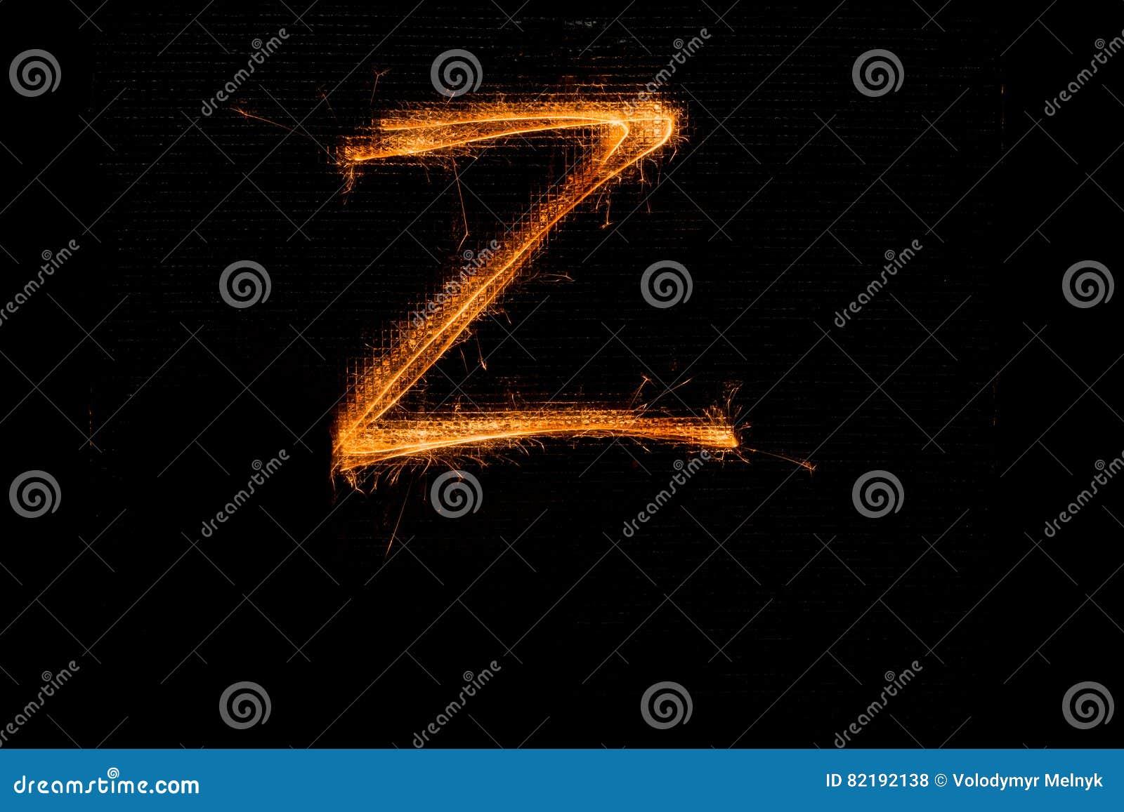 Letra Z feita dos chuveirinhos no preto