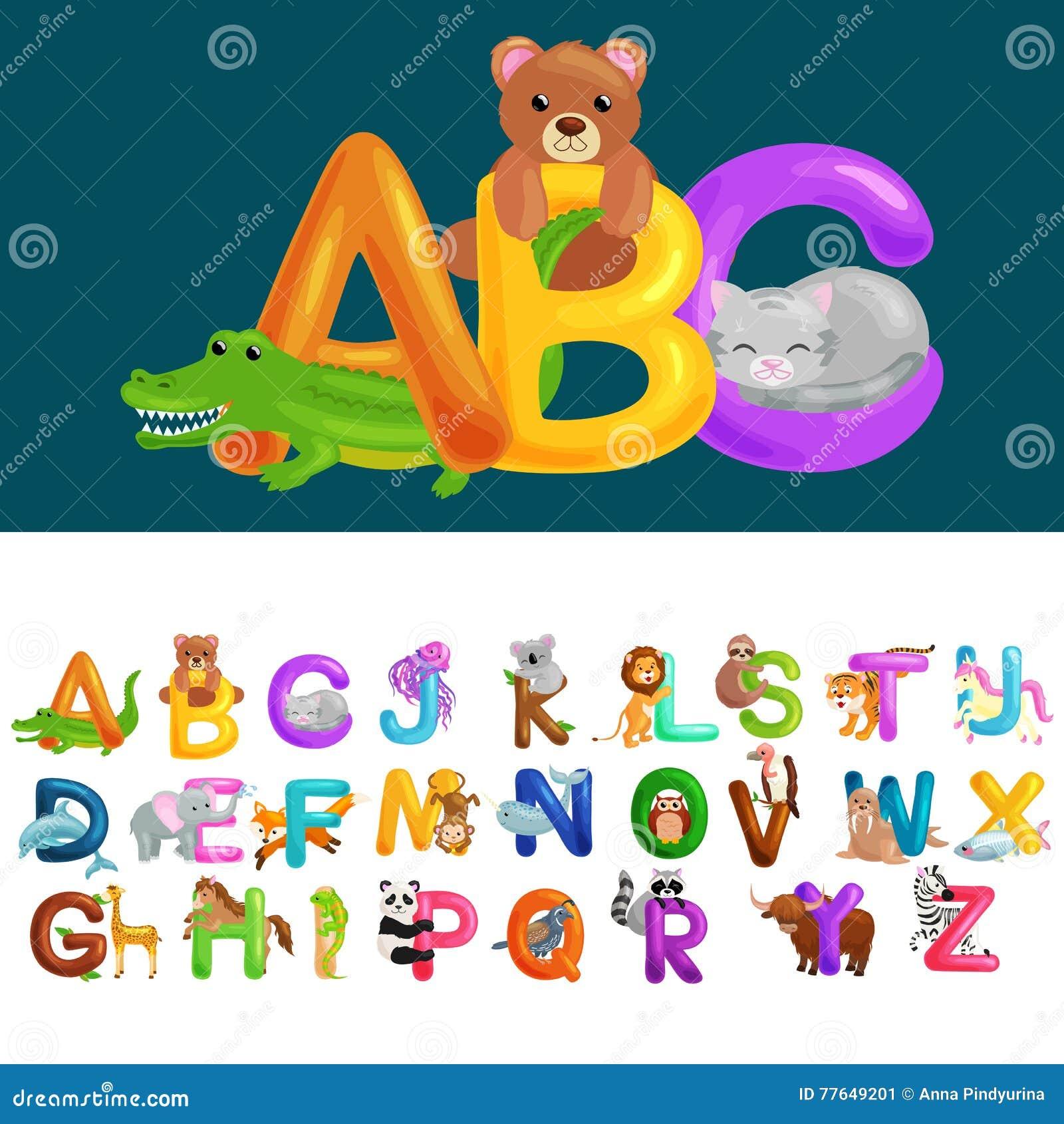 Letras Animales Del ABC Para La Educación Del Alfabeto De Los Niños ...