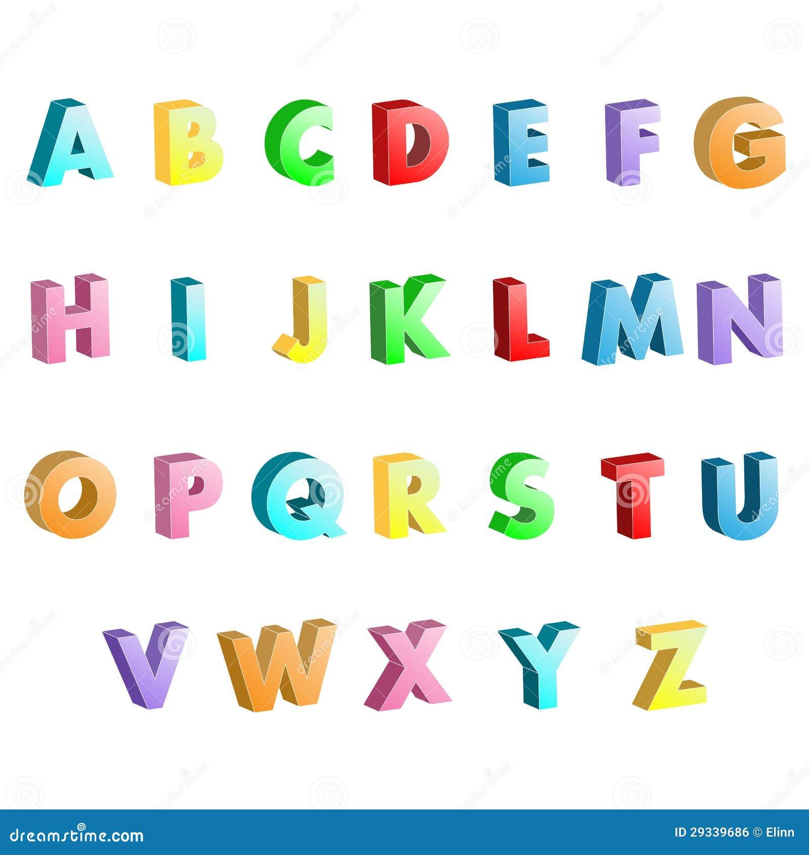 Colorful 3D Alphabet Letters