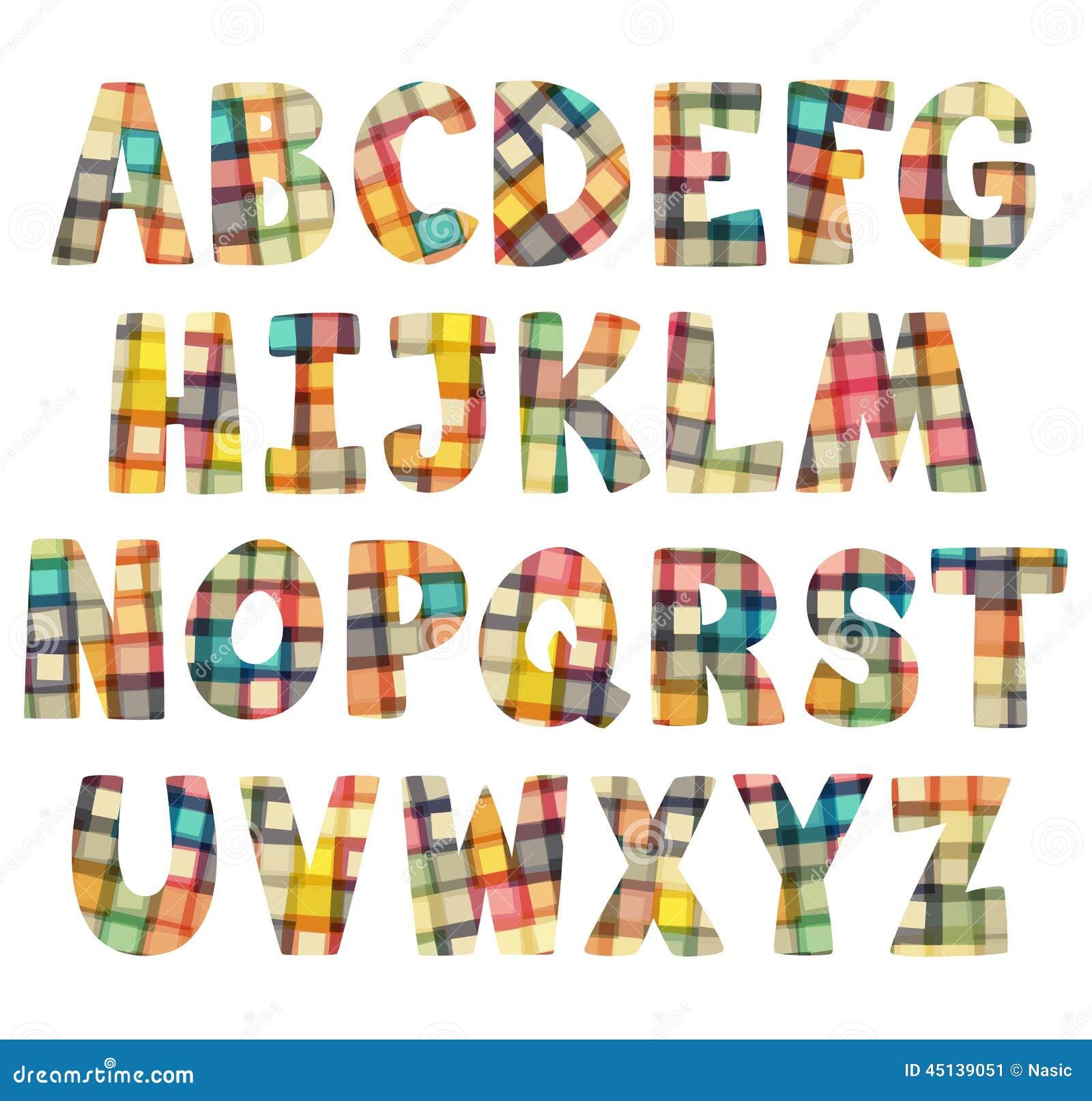 Letras coloridas divertidas del mosaico fijadas - Literas divertidas para ninos ...