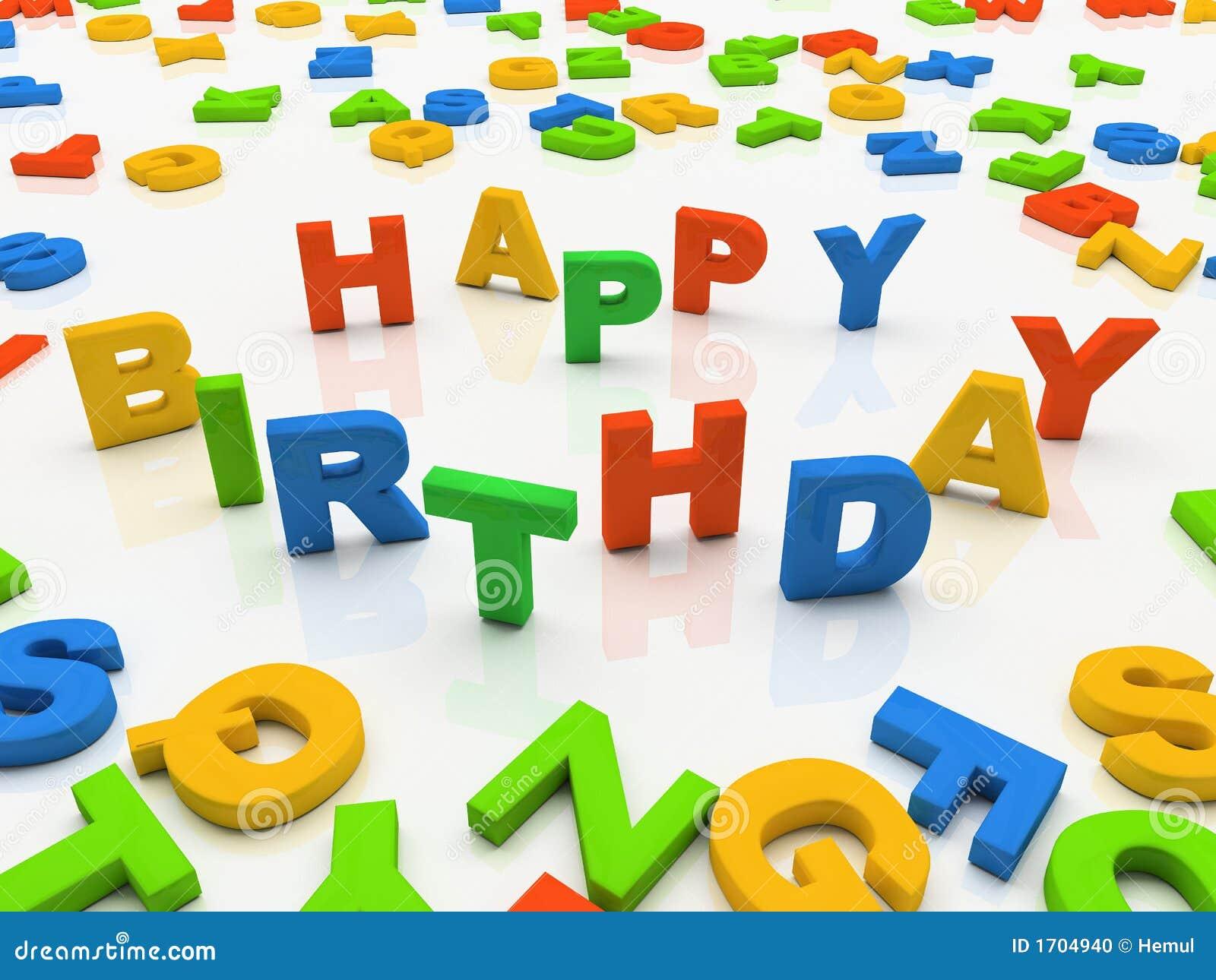 Letras coloridas isoladas no feliz aniversario do fundo branco