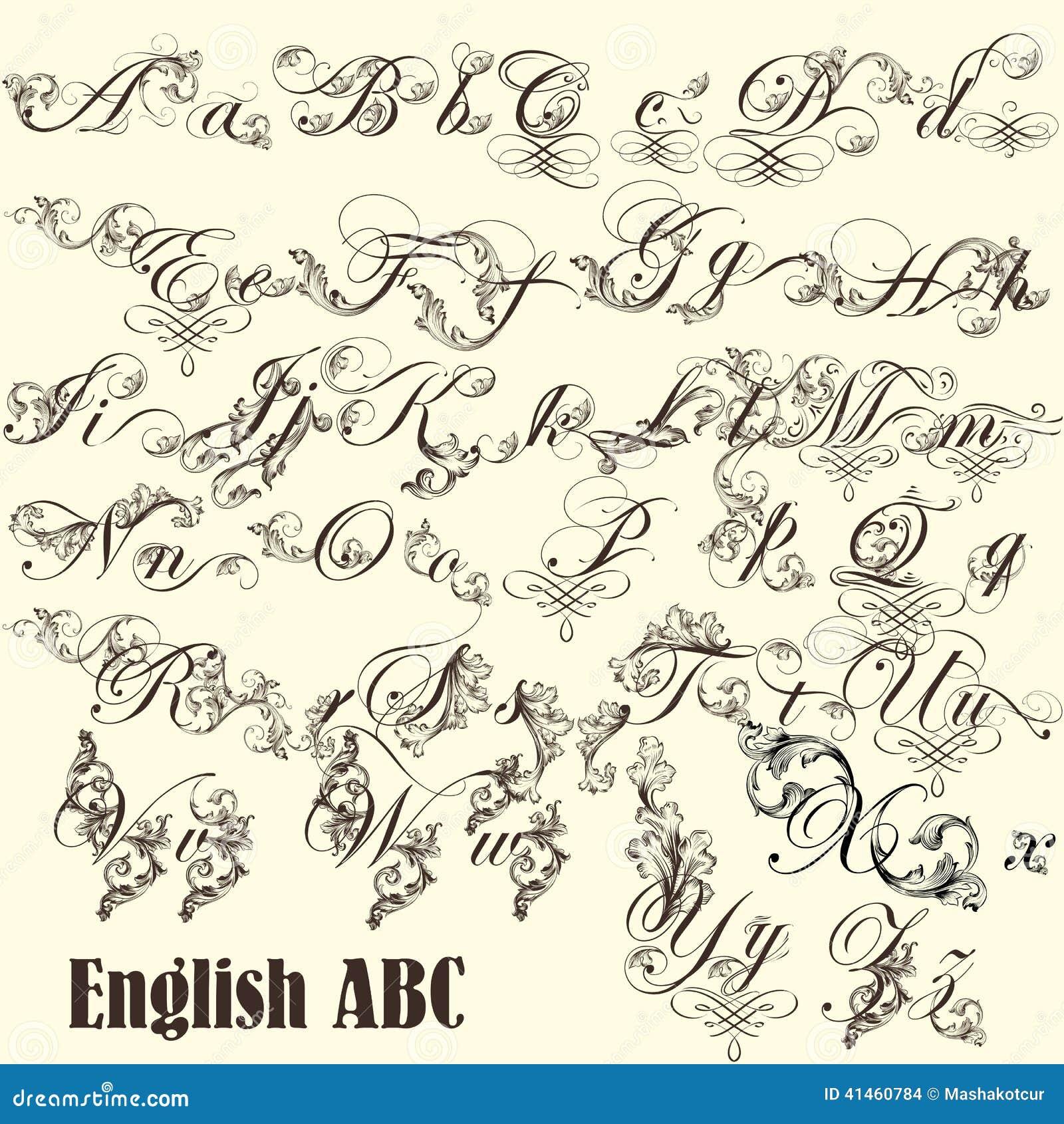 Letras de abc del ingl s en estilo del vintage ilustraci n for Estilos de letras