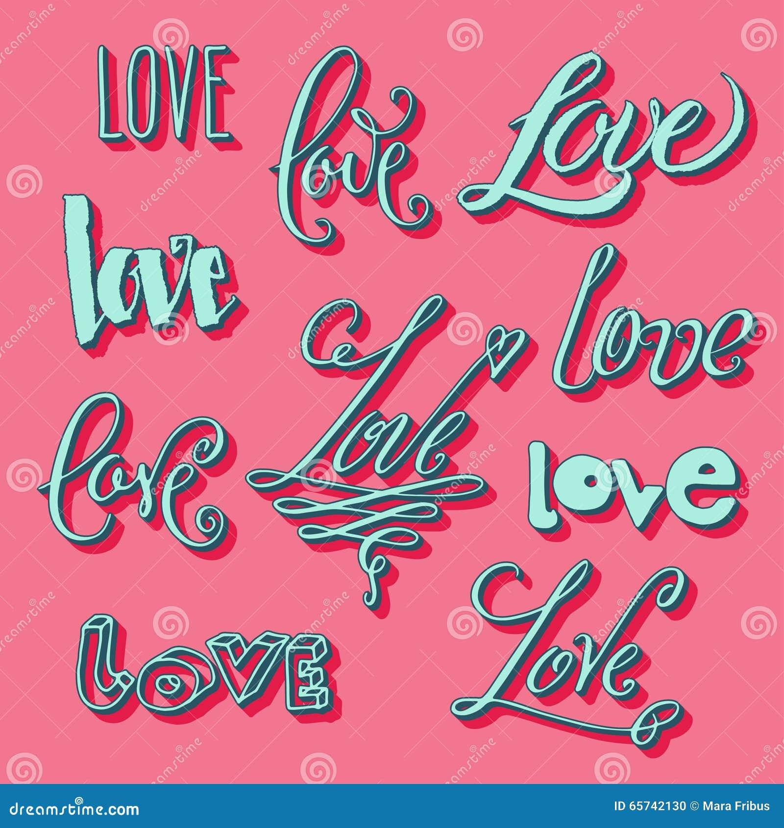 Letras de amor en estilos diversos ilustraci n del vector for Estilos de letras