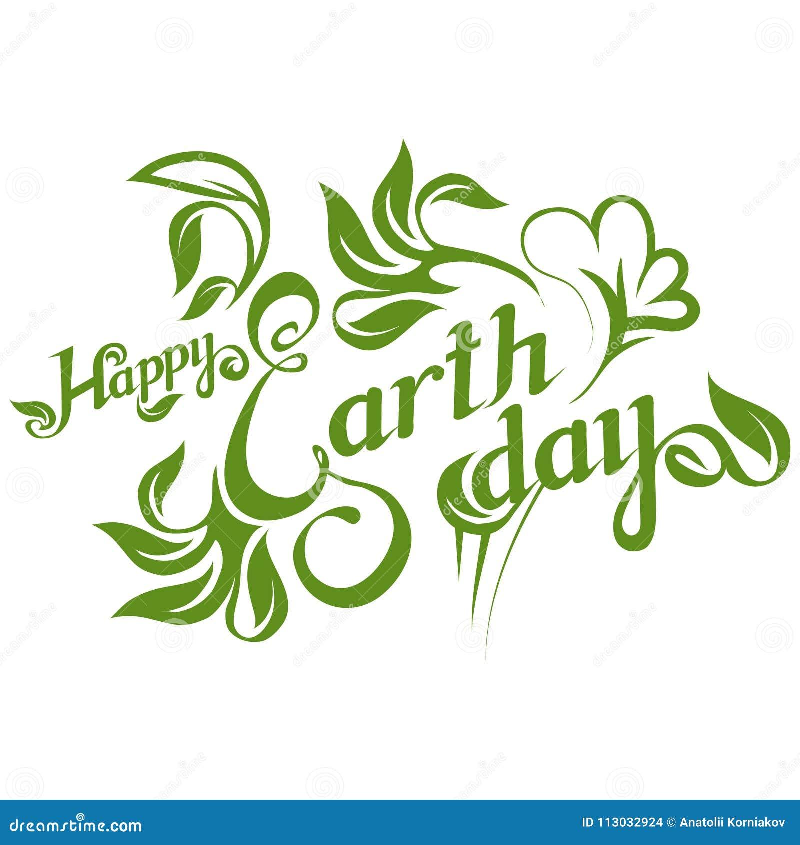 Letras de Día de la Tierra Concepto de la ecología con tierra