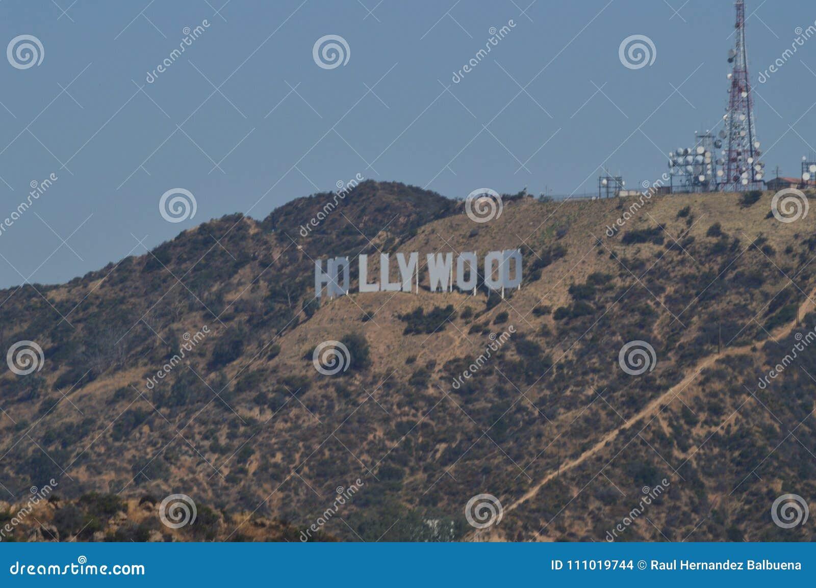 Letras de Hollywood vistas de punto muy cercano de A 7 de julio de 2017