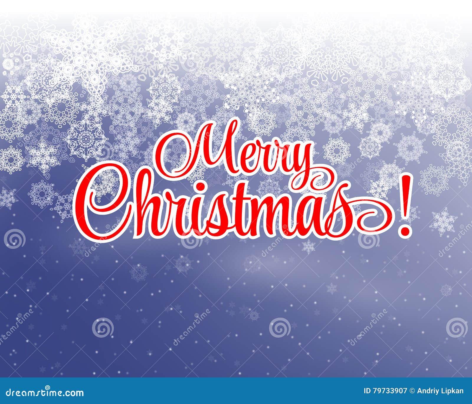 Letras de la Feliz Navidad cubiertas con nieve en la postal nevosa del vintage del fondo