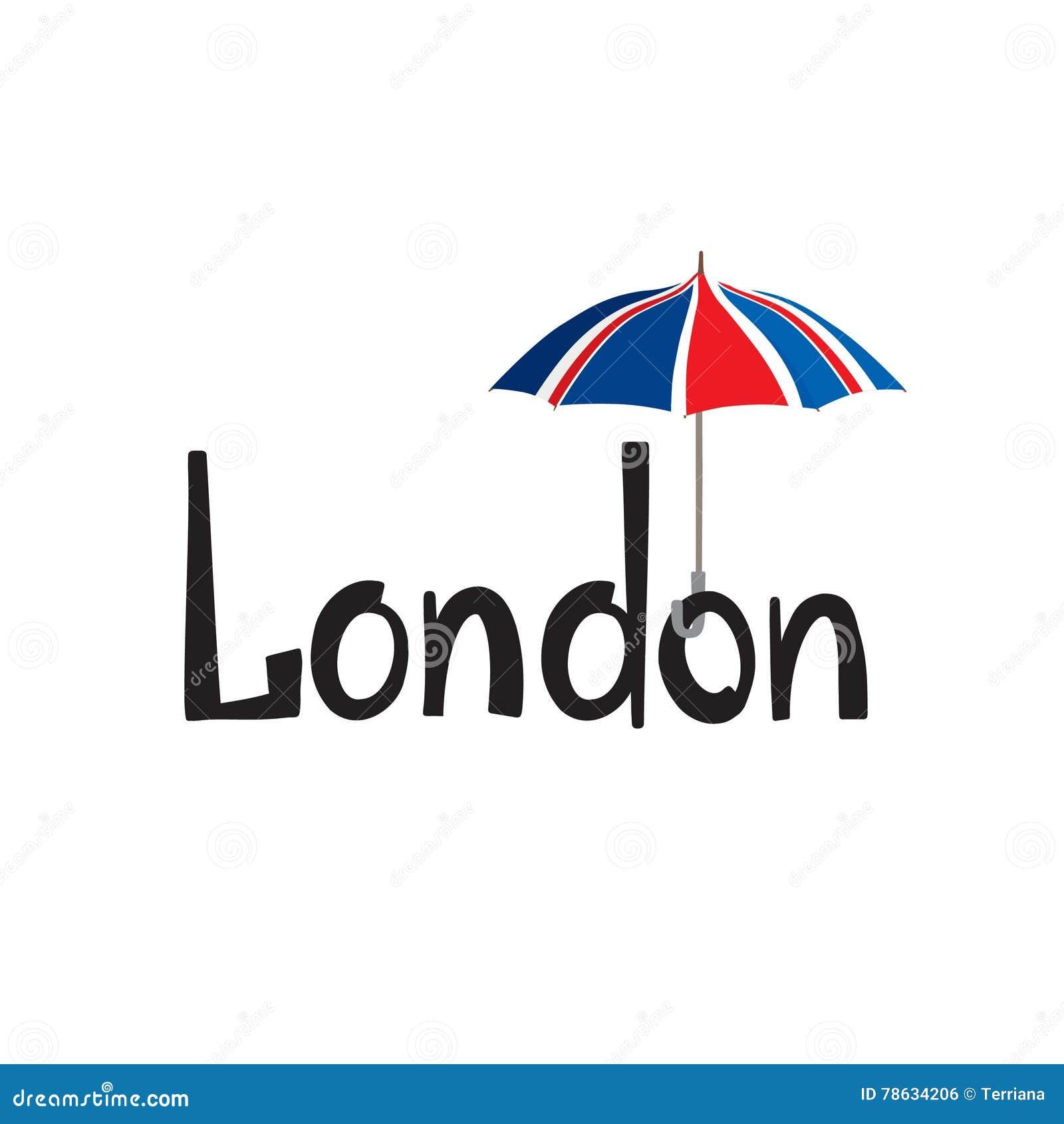 Letras De La Mano De La Muestra De Londres Paraguas Coloreado ...