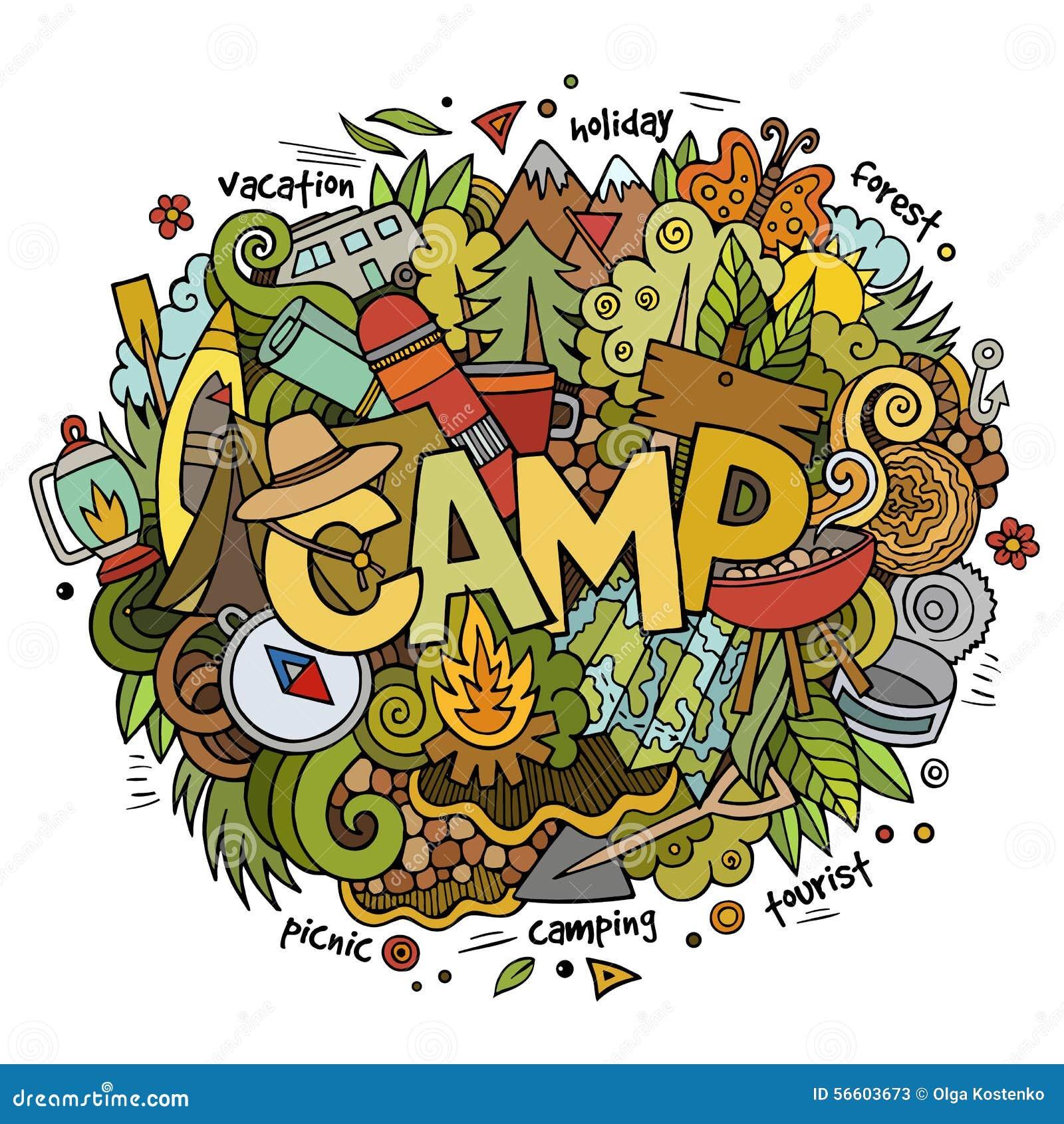 Letras De La Mano Del Campamento De Verano Y Elementos De Los ...