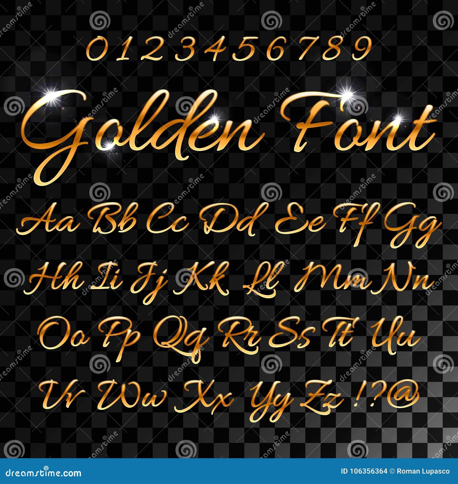 Letras de oro caligráficas Fuente elegante del oro del vintage Escritura de lujo del vector Alfabeto de oro caligráfico, caligraf