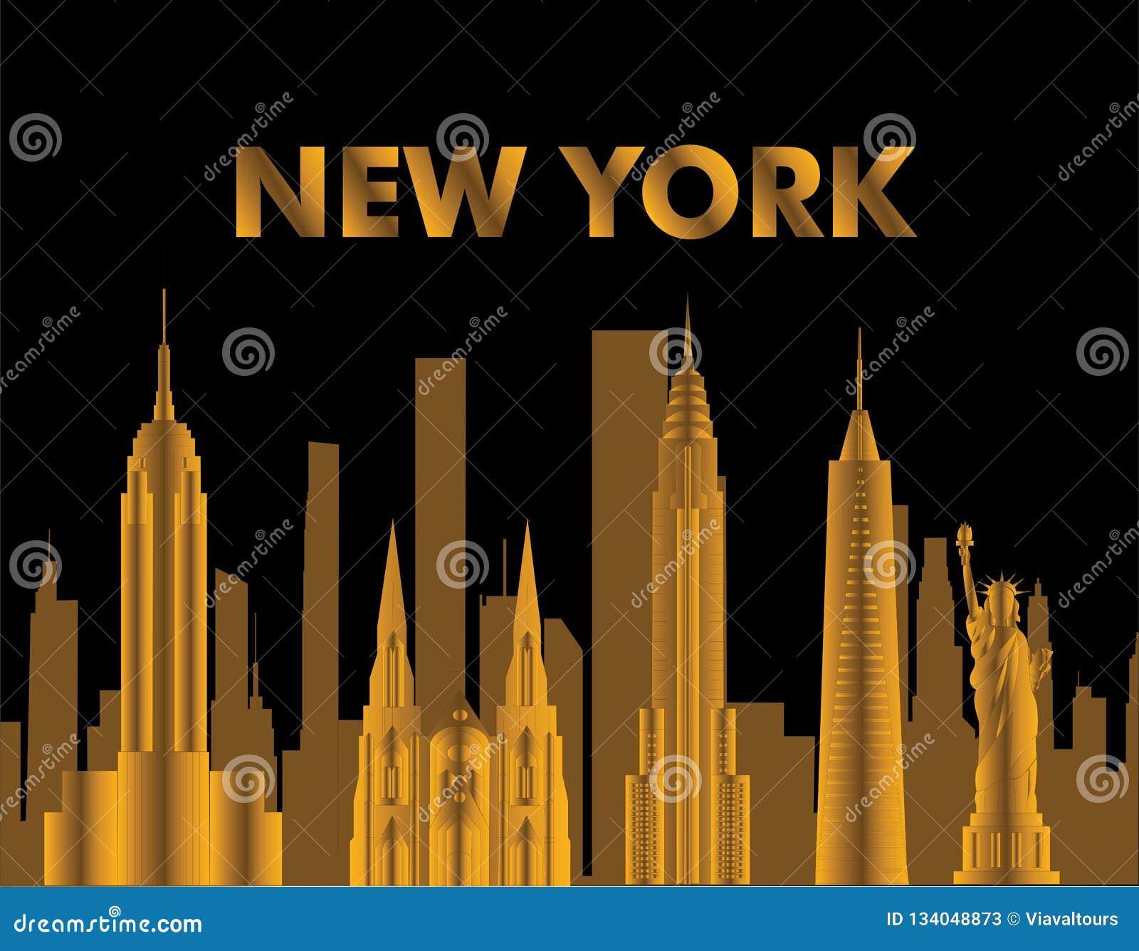 Letras del oro de Nueva York Vector con skycrapers e iconos del viaje en fondo negro Tarjeta del viaje