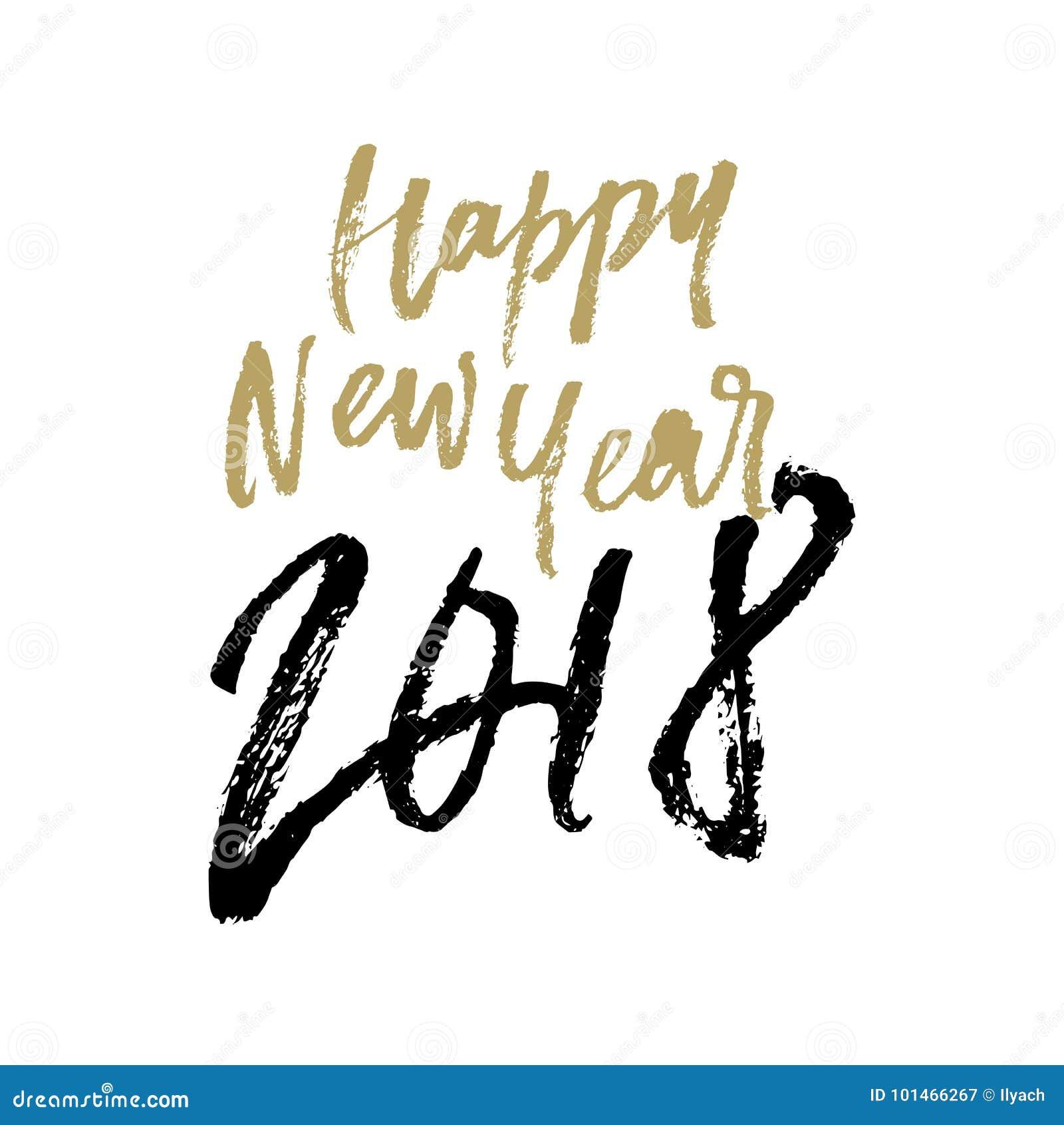Letras dibujadas mano 2018 del vector de la caligrafía de la tarjeta de felicitación de la Navidad de la Feliz Año Nuevo