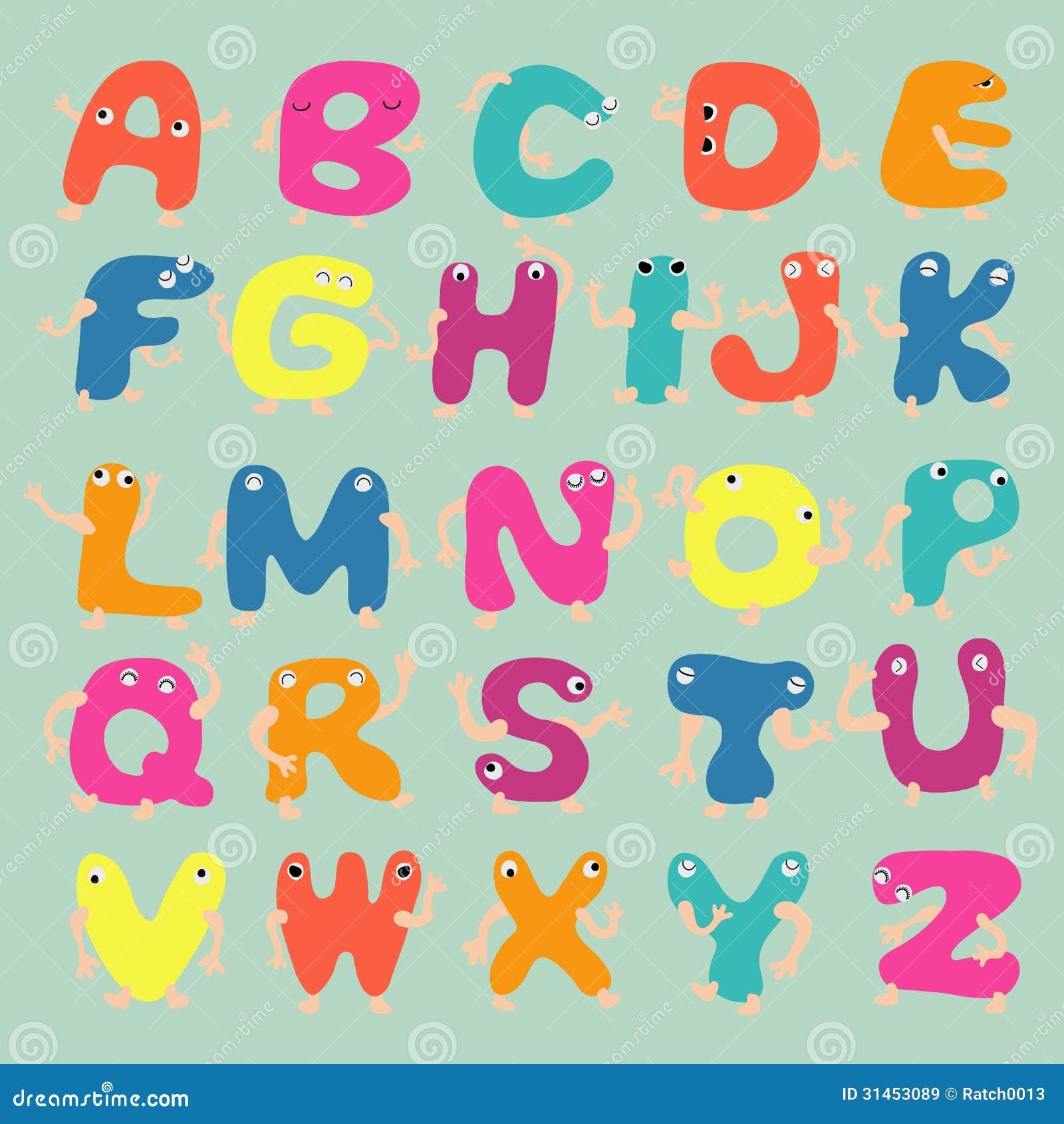 Super Letras Divertidas Del Alfabeto Ilustración del Vector  YT25