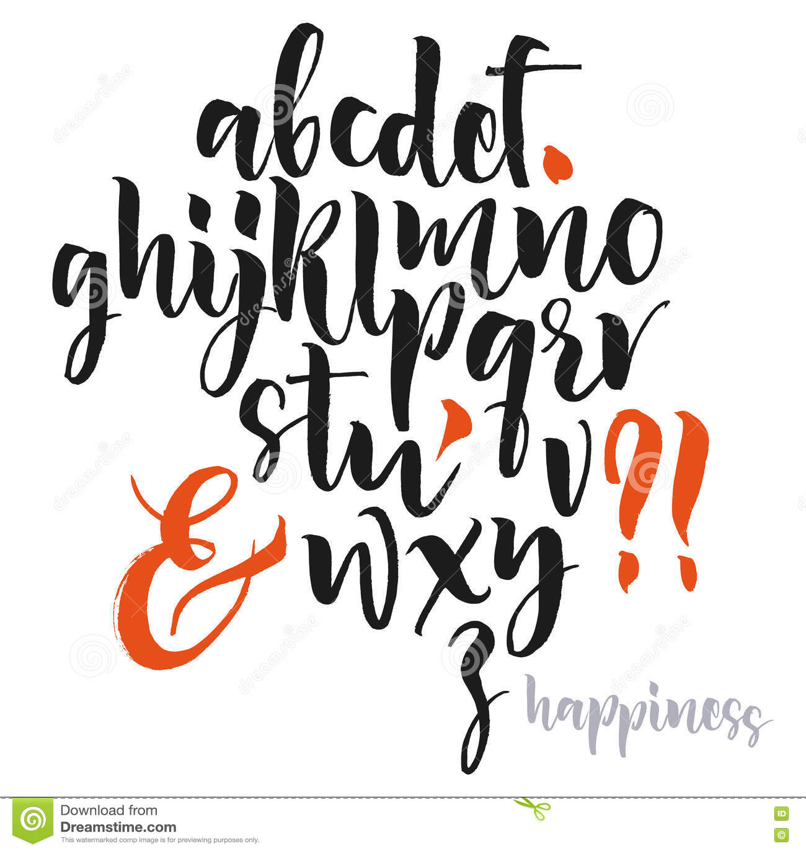 Letras do alfabeto: lowercase, caixa, números Alfabeto do vetor
