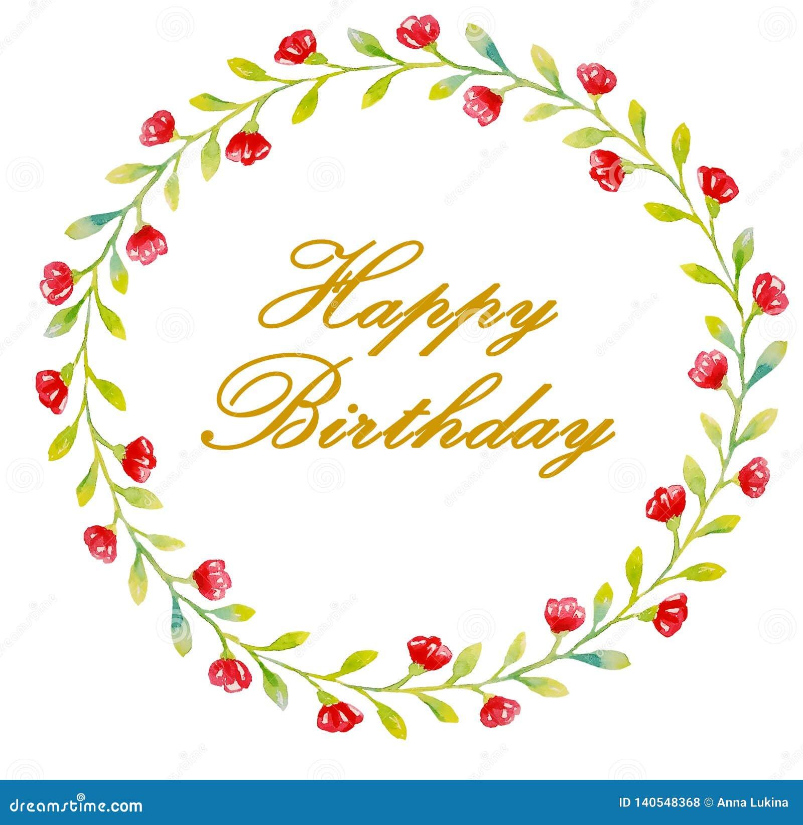 Letras douradas do feliz aniversario em uma grinalda de flores vermelhas e das folhas pequenas verdes para cartões, cumprimentos