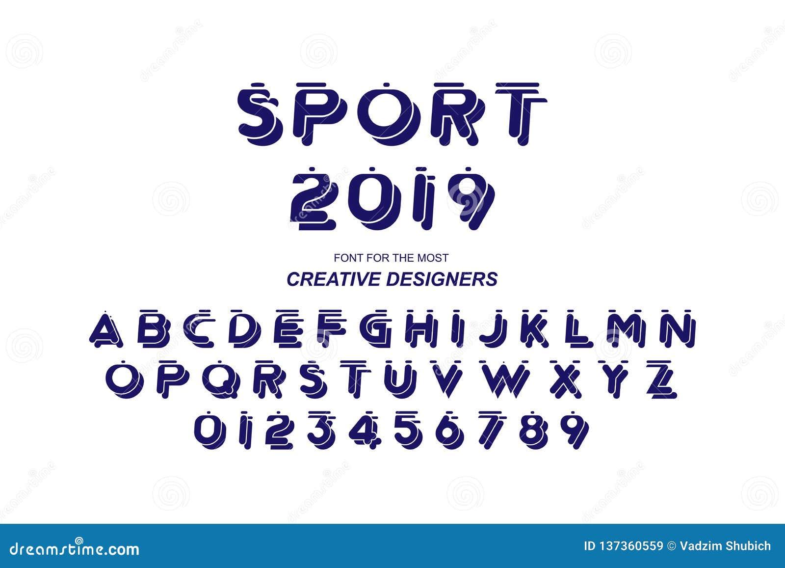 61d0e2bf3 Letras e números corajosos originais do alfabeto da fonte do esporte para o  molde criativo do projeto para o logotipo Ilustração lisa eps10