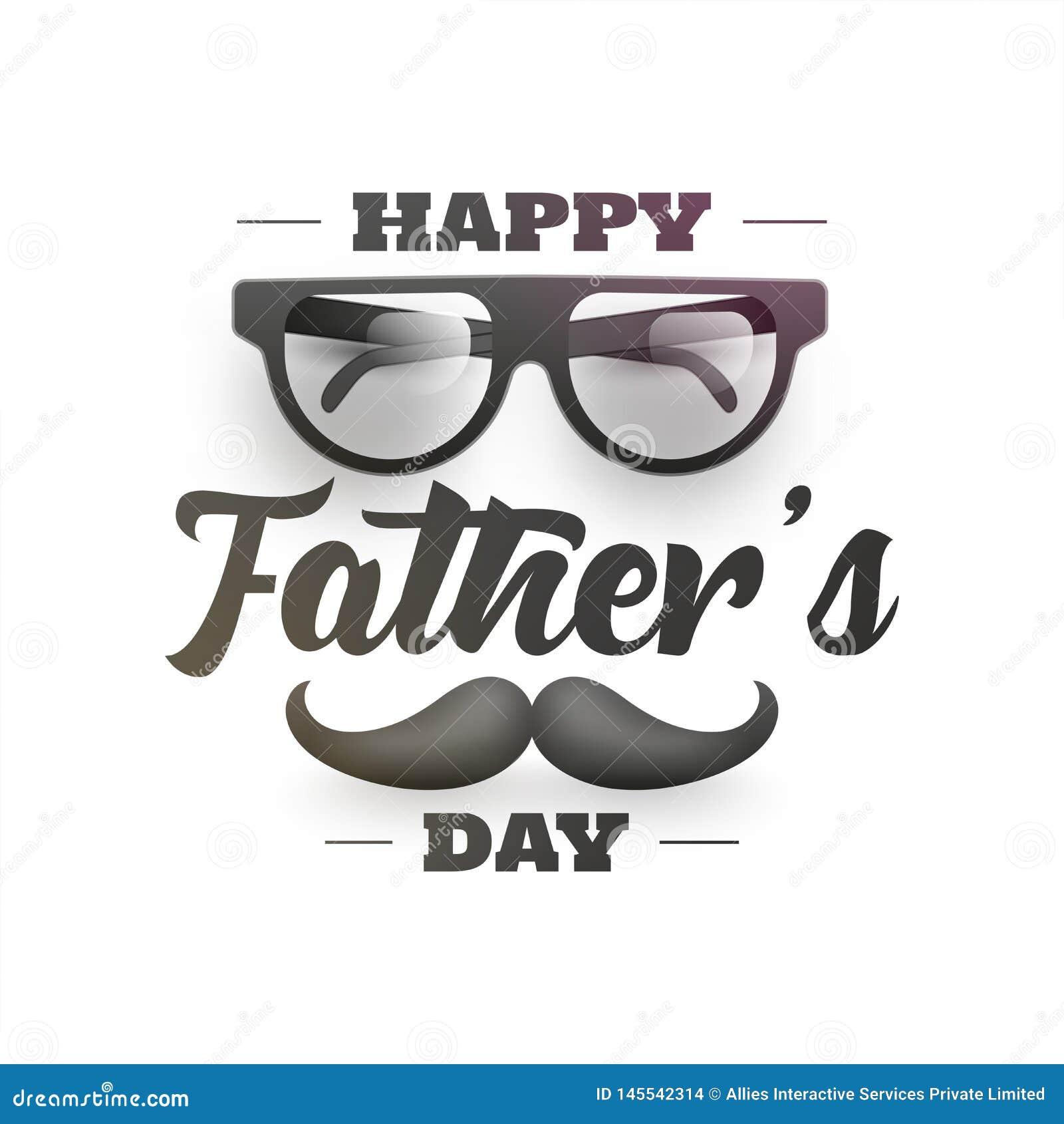 Letras elegantes del d?a de padre feliz con el ejemplo del bigote y de las lentes en el fondo blanco