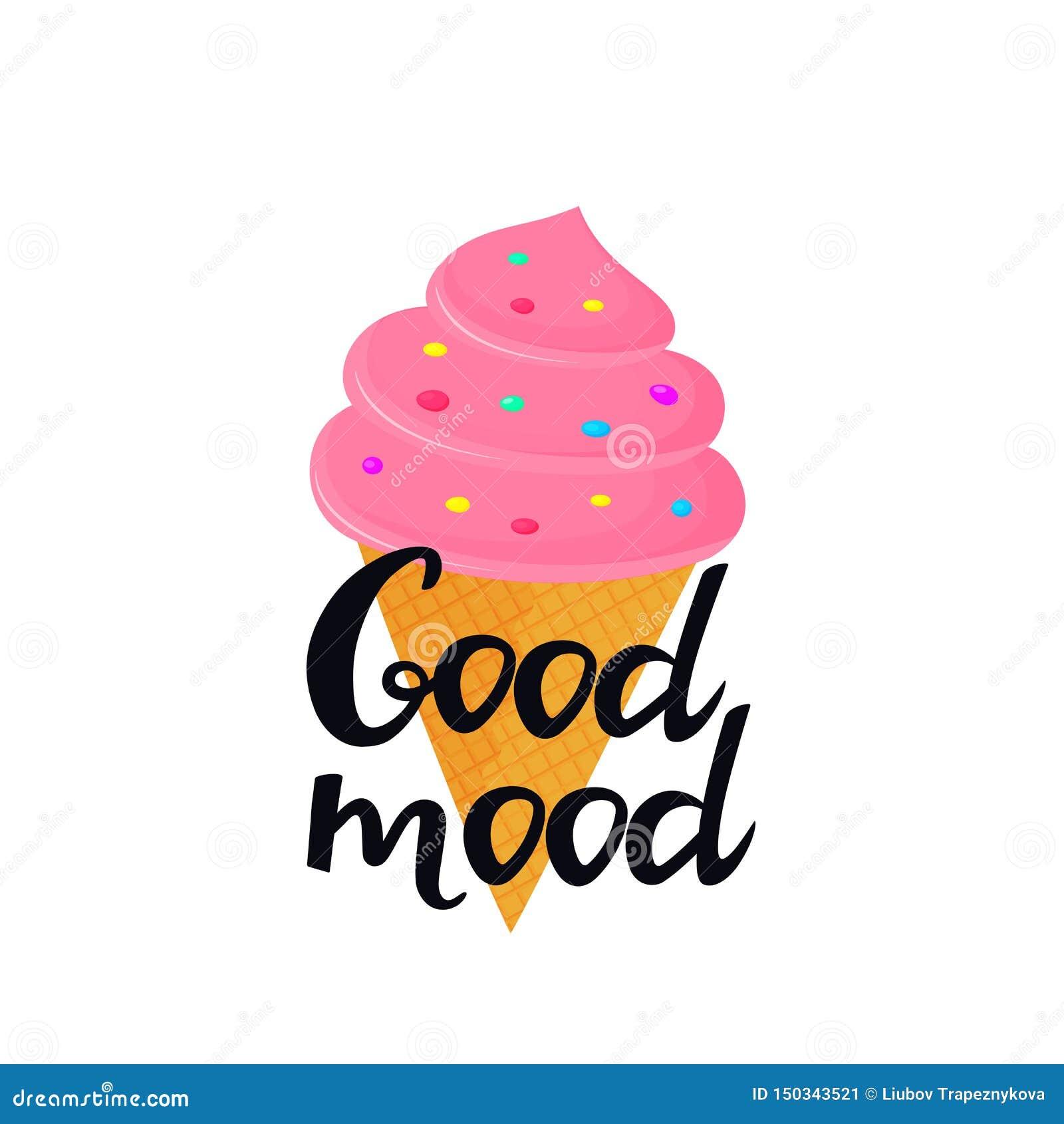 Letras exhaustas de la buena mano del humor con helado en un cono de la galleta Puede ser utilizado como diseño de la camiseta