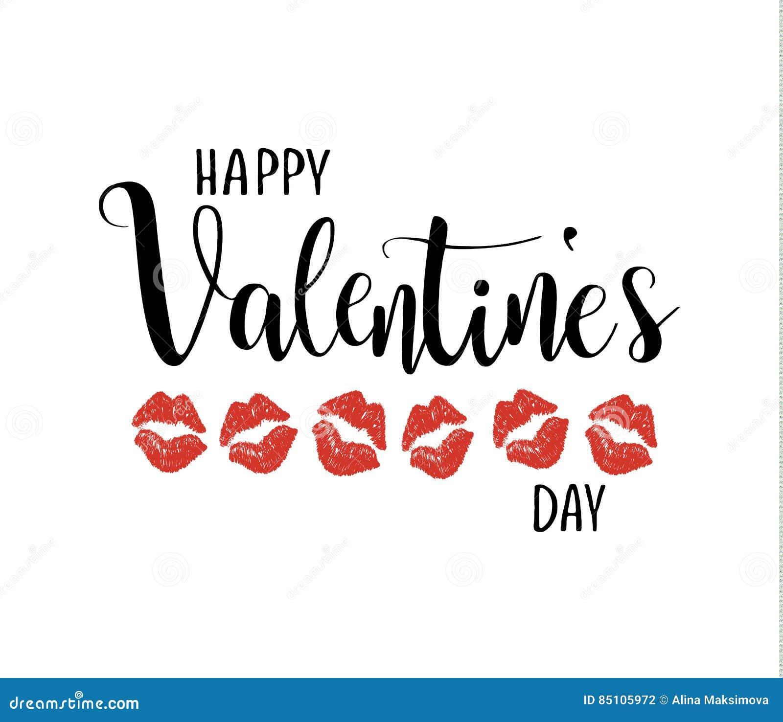 Letras felices de la caligrafía del vector del día del ` s de la tarjeta del día de San Valentín Besar los labios