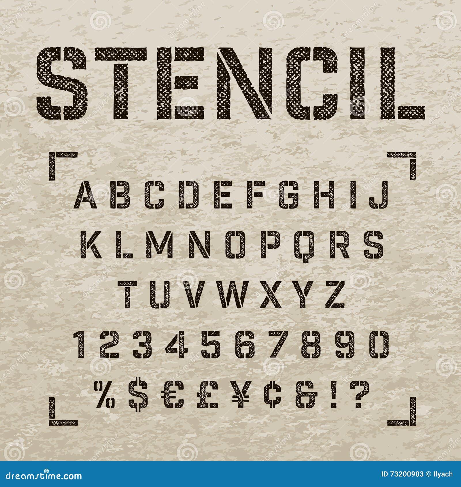 Letras Numeros Y Simbolos De La Plantilla Del Sello Alfabeto De