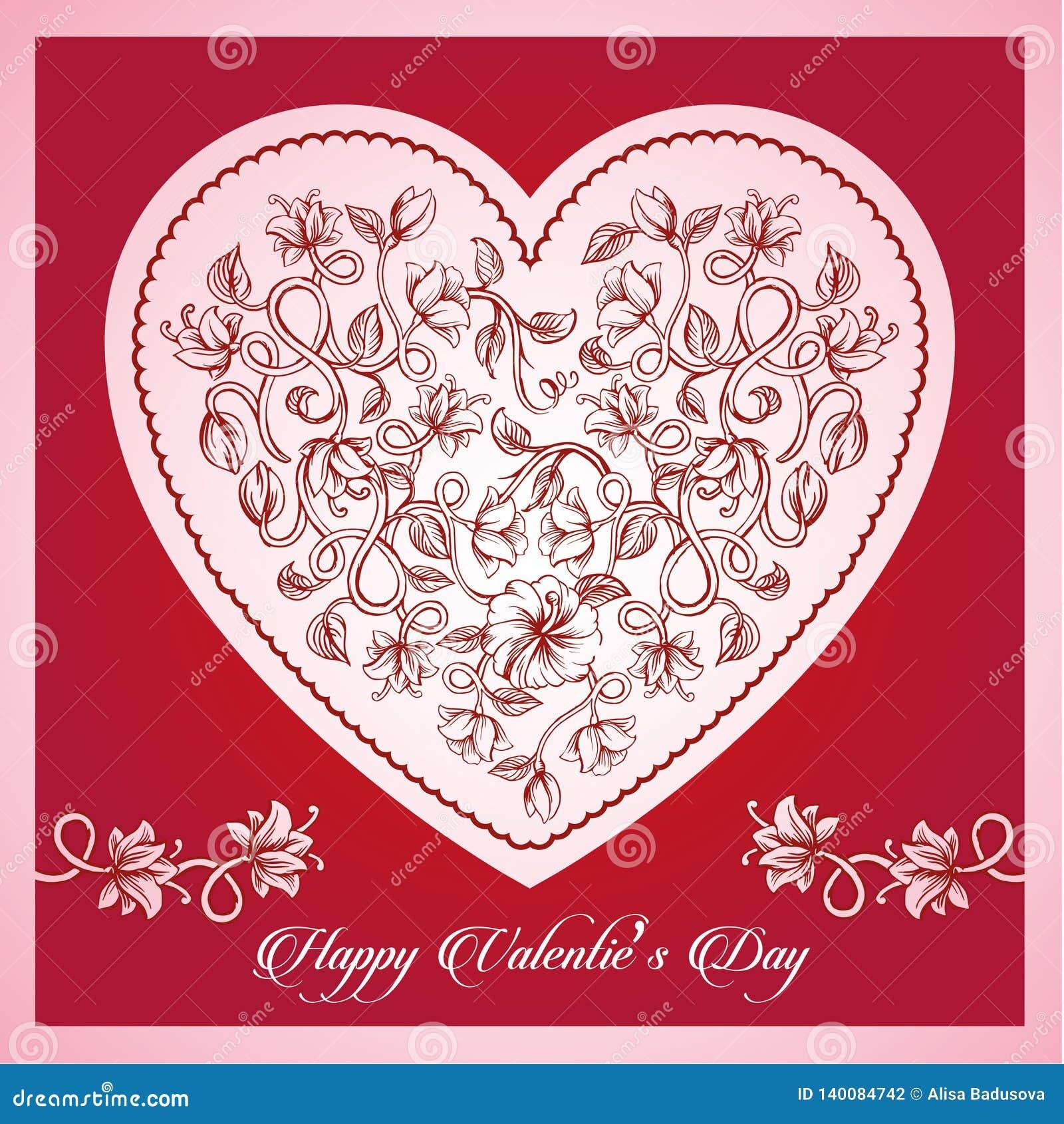 Letras tipográficas felices de día de San Valentín en fondo rosado con el ejemplo blanco del vector del corazón