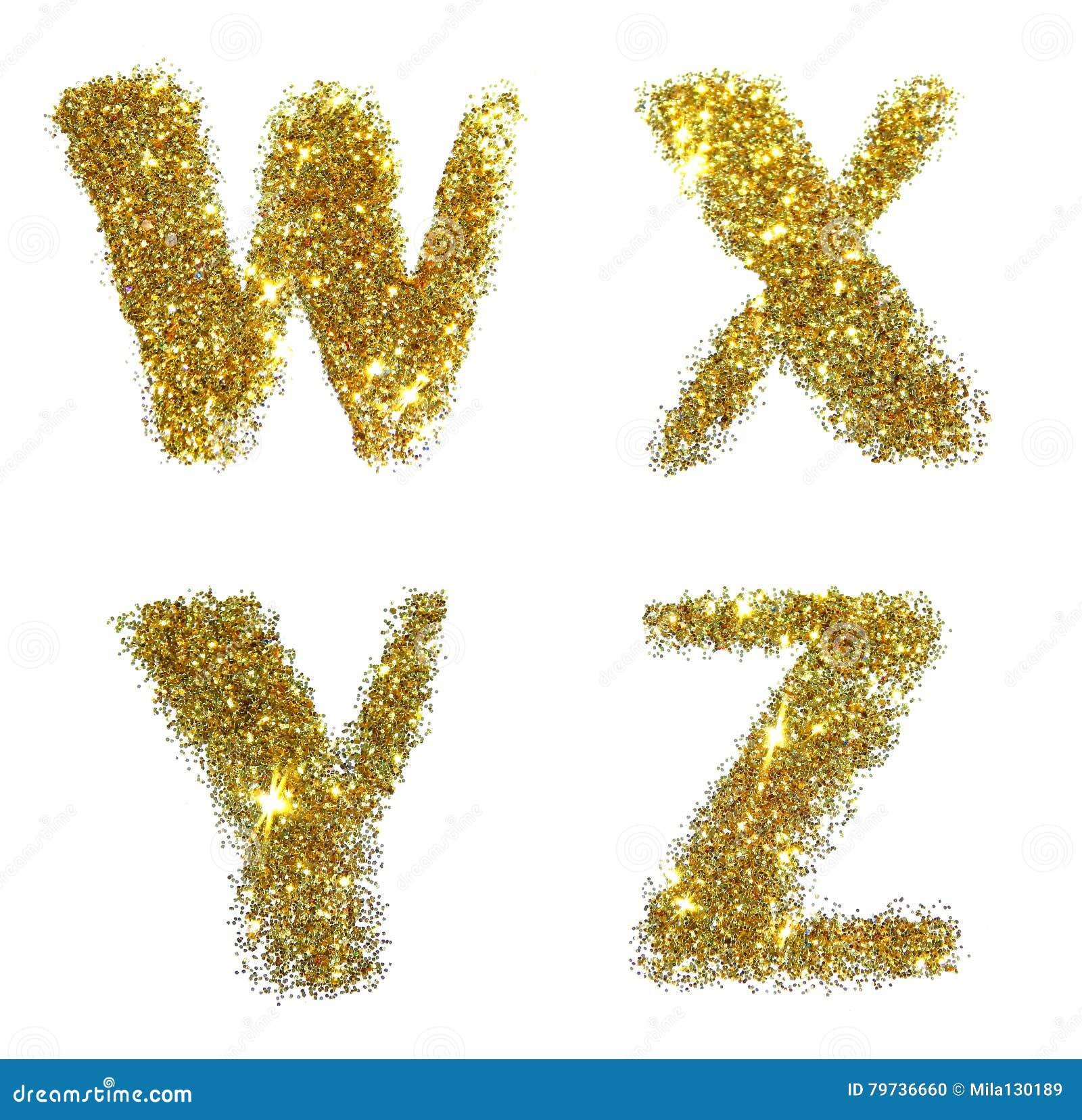 Letras W, X, Y, Z de la chispa de oro del brillo en el fondo blanco