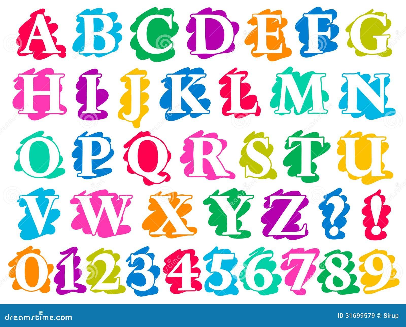 Dibujos De Letras A Color: Letras Y Dígitos Del Alfabeto Del Chapoteo Del Garabato