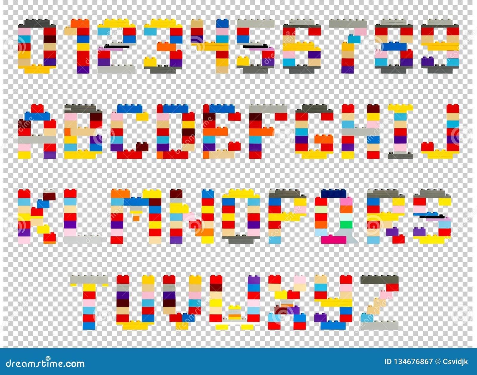 Letras y números del diseñador de los niños con un fondo transparente, png