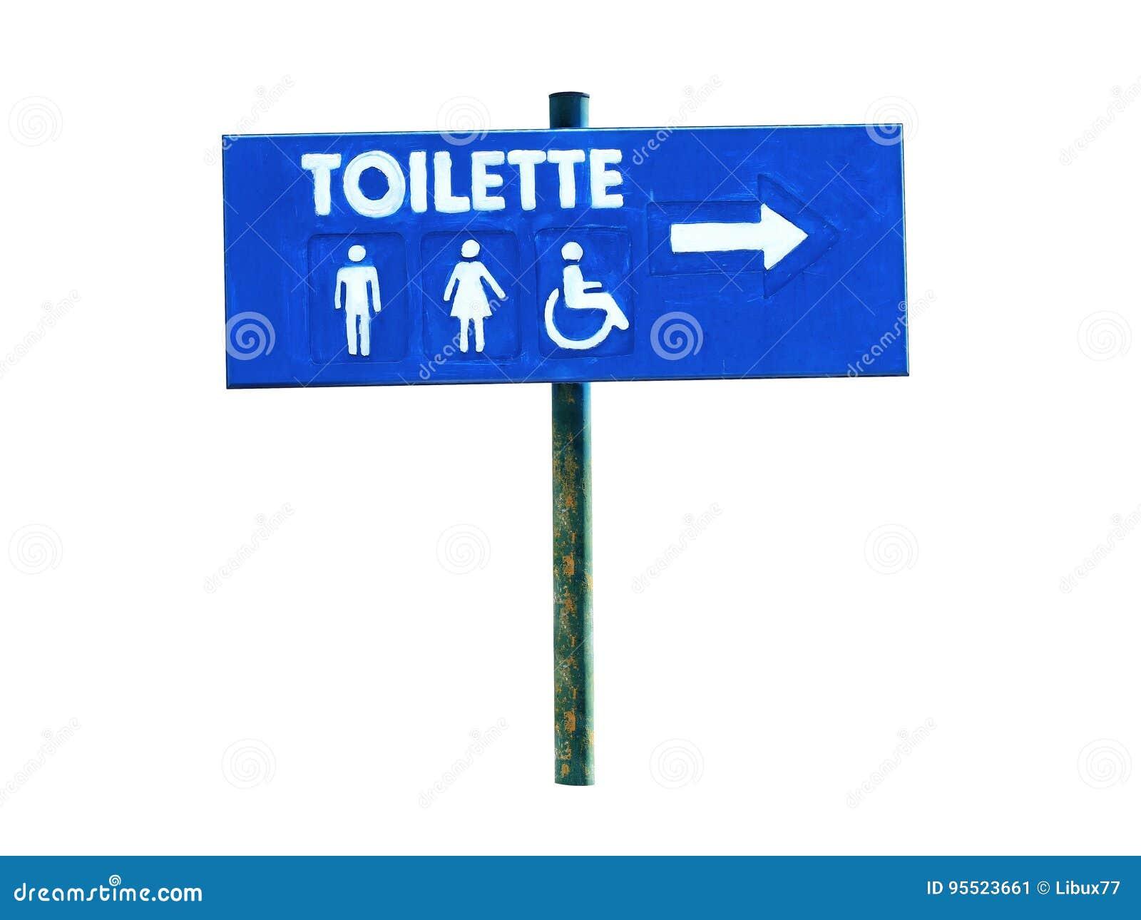 Letreiro de Toilette isolado