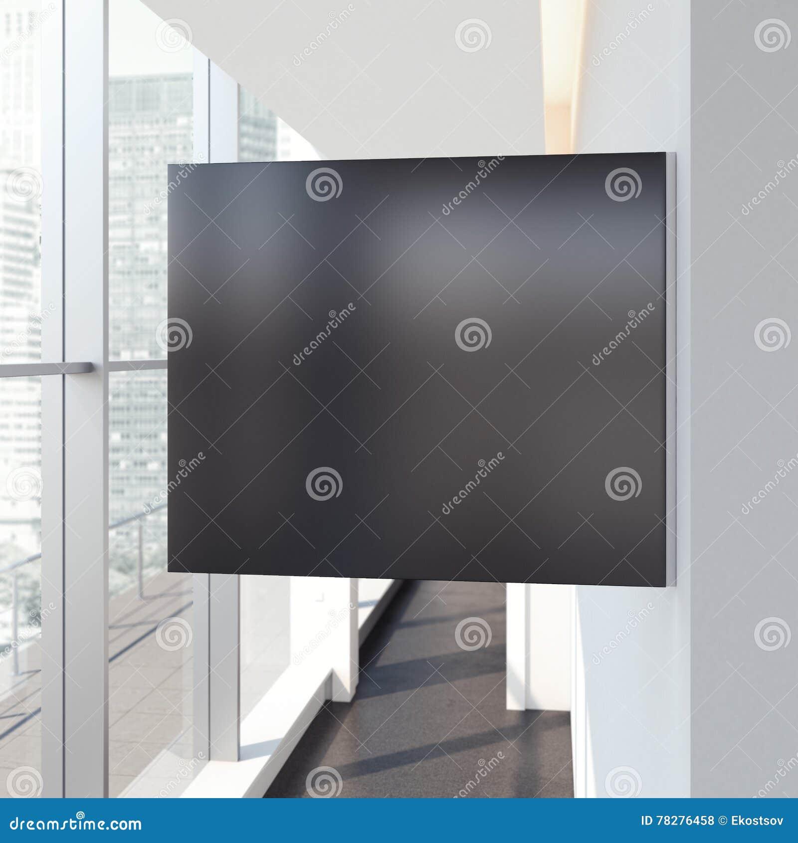 Letrero de la casilla negra en interior brillante de la oficina representación 3d