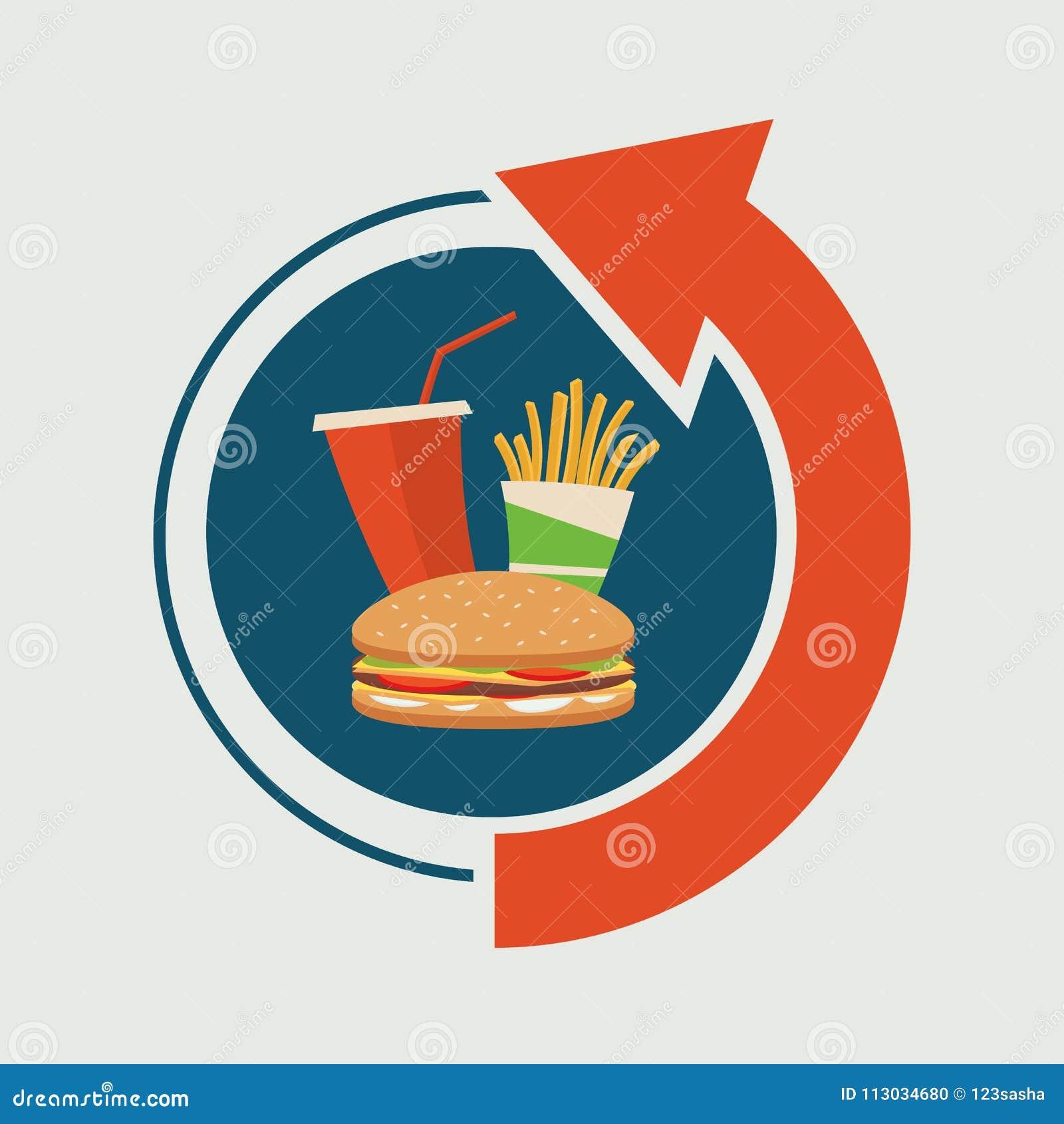 Letrero de los alimentos de preparación rápida con la flecha