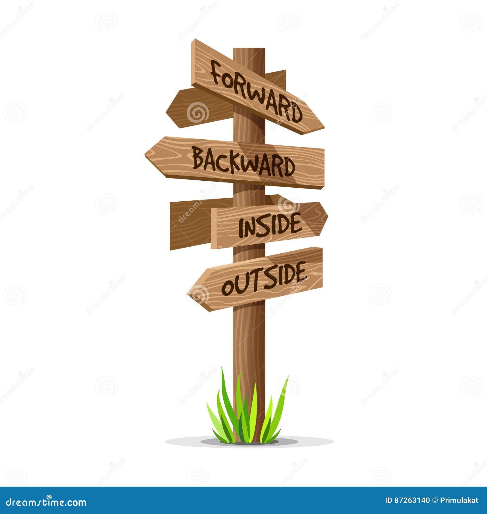 Letrero de madera de la dirección del vector de la flecha