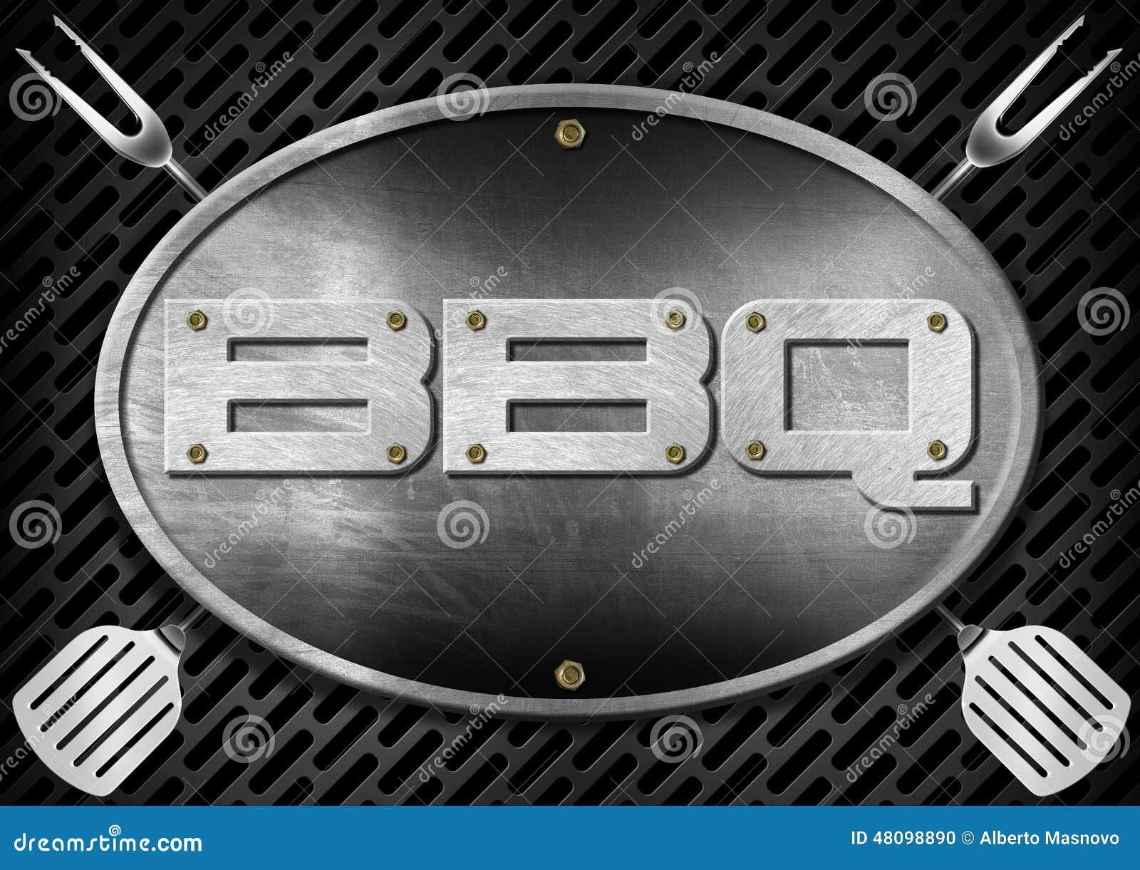 Letrero del Bbq con los utensilios de la cocina