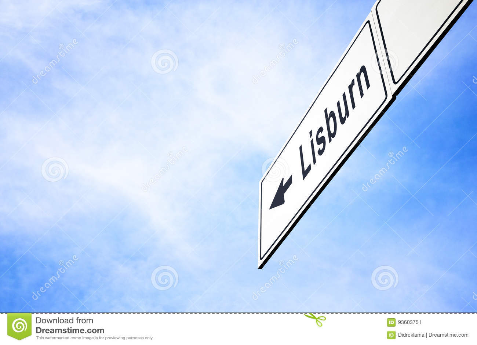 Letrero que señala hacia Lisburn