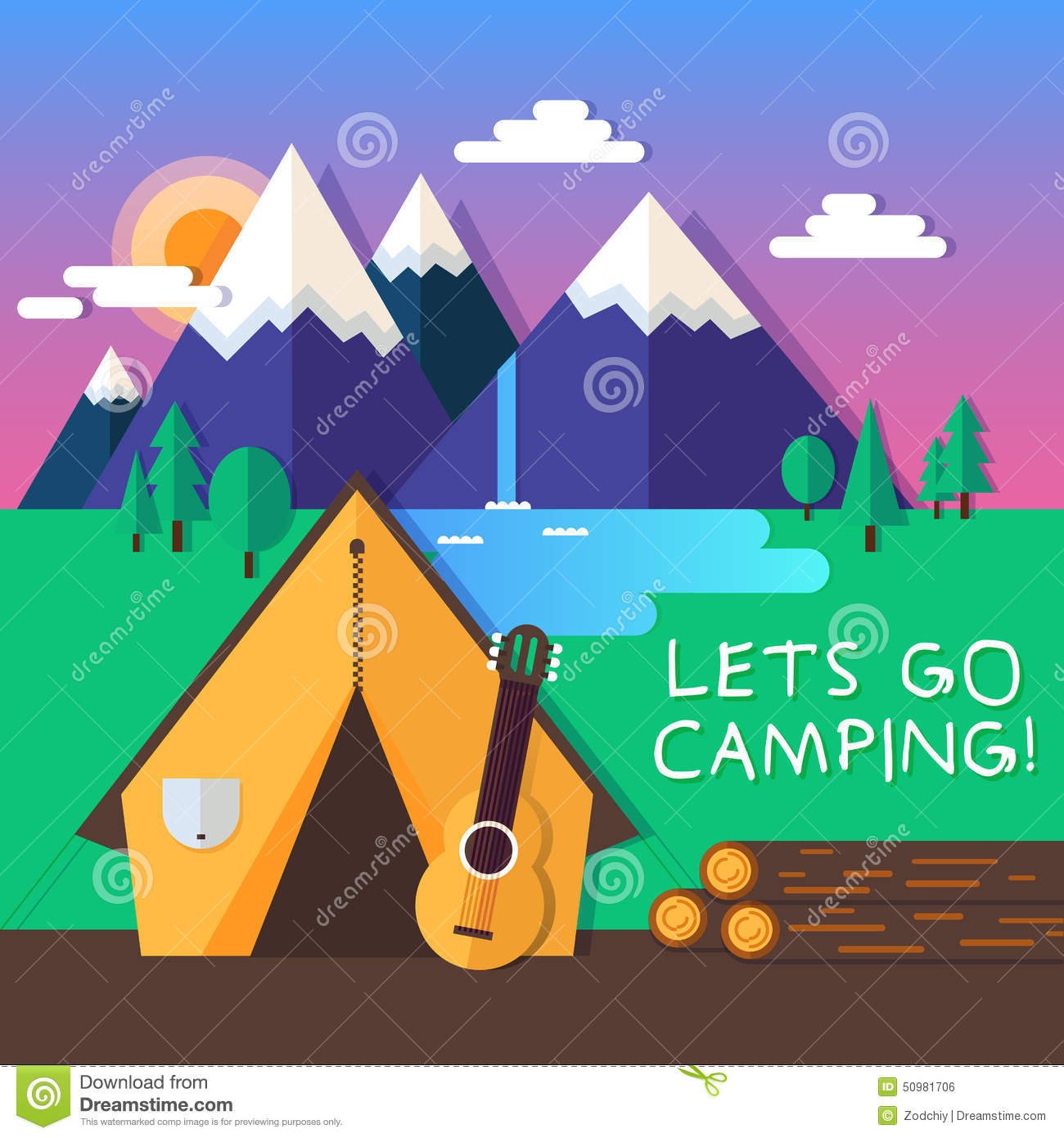 Lets Go Camping Stock ... Summer Camp Vector