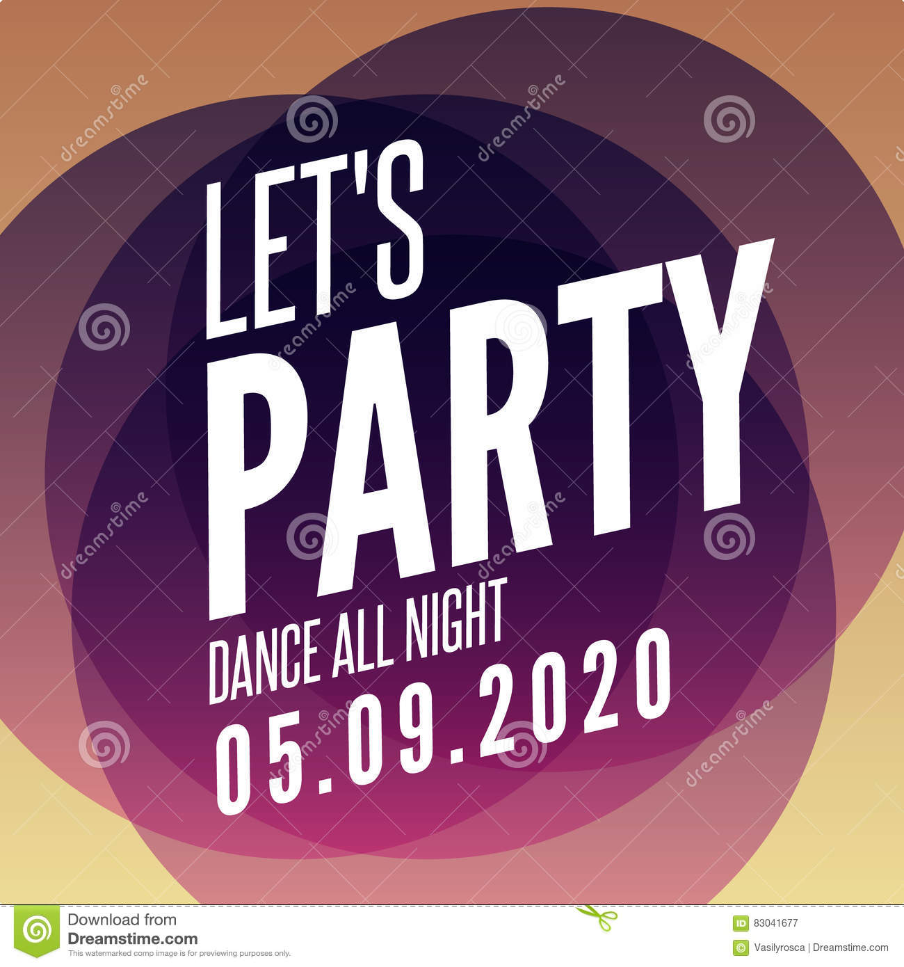 Lets Party Design Poster Template. Overlay Colors Night Club Musical ...