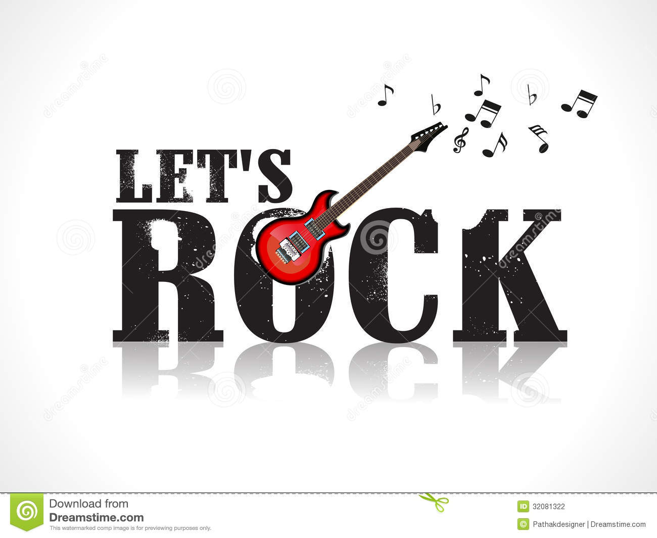 Lets Rock Background With Guitar Stock Photography - Image: 32081322