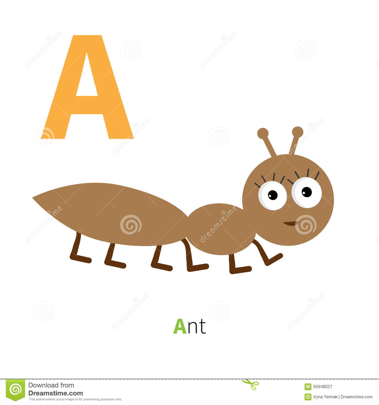 Letter A Ant Insect Zoo alphabet. English abc with animals Education ...