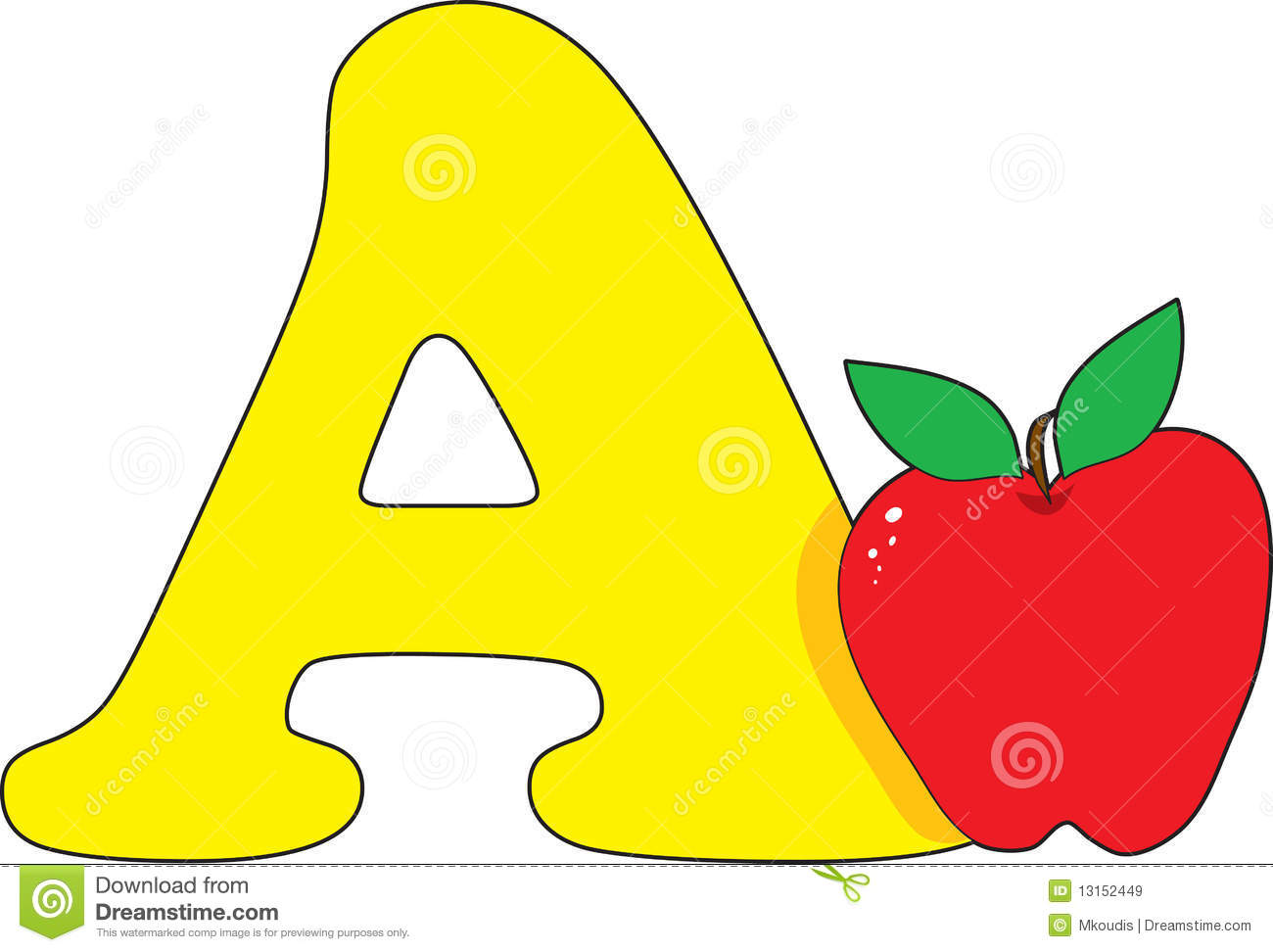 Letter A with an Apple
