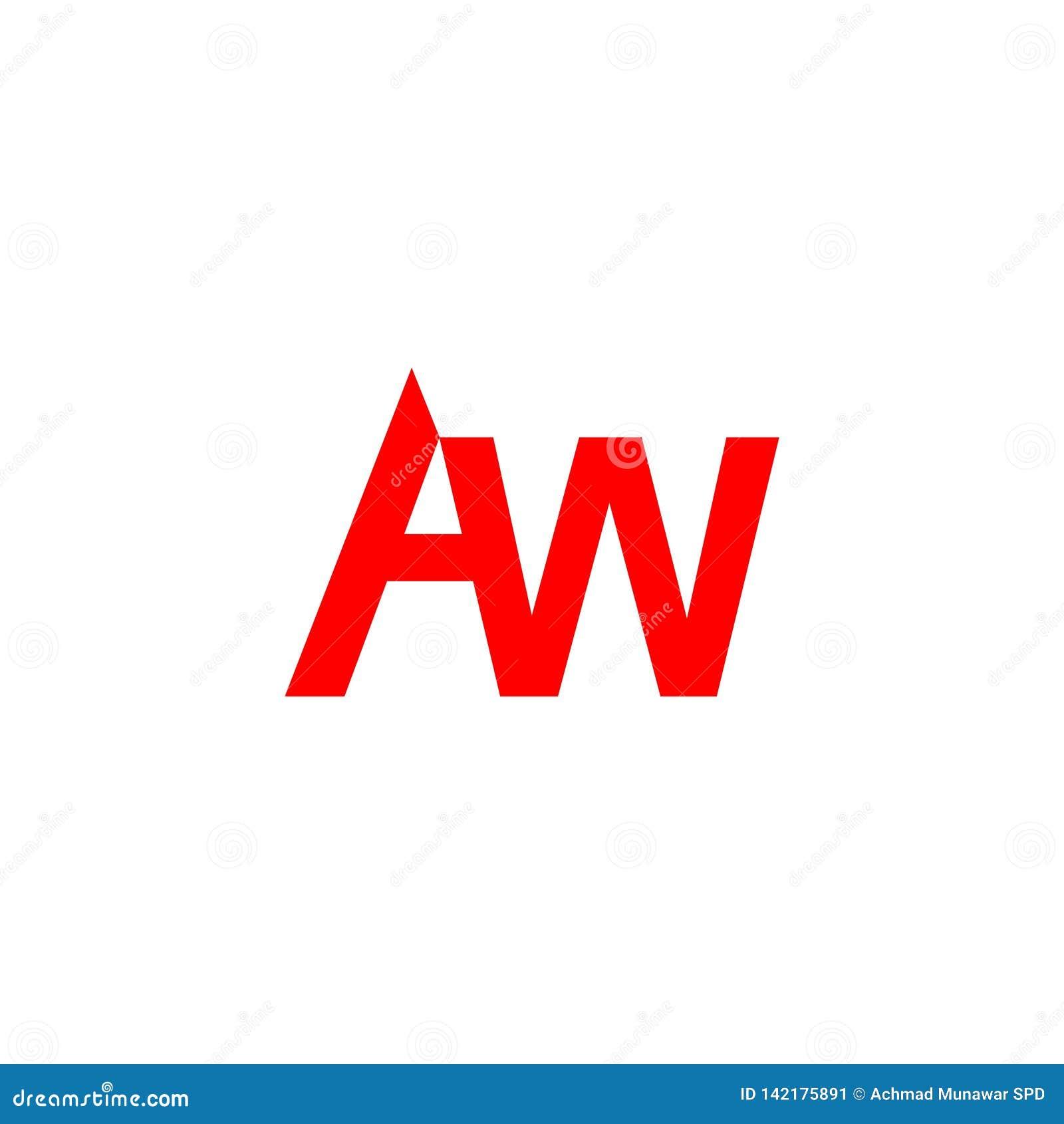 Letter Aw Red Color For Company Design Logo Branding Letter Element