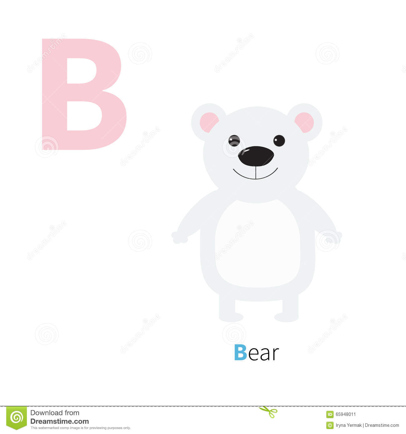Letter B Bear white polar Zoo alphabet. English abc letters with animals Education cards for kids White background Flat d