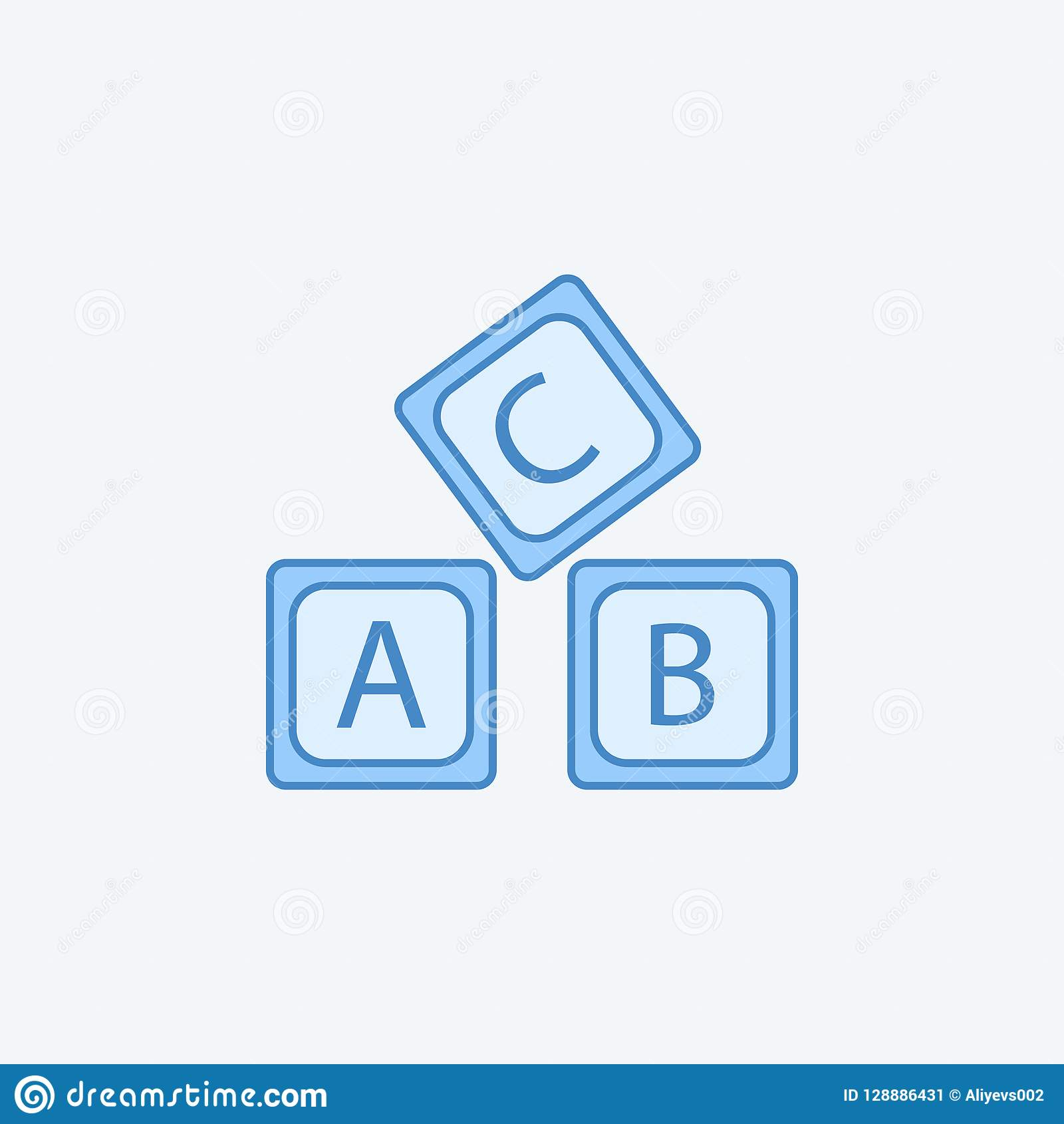 letter A B C logo alphabet 2 colored line icon. Simple dark and light blue element illustration. letter A B C logo alphabet concep