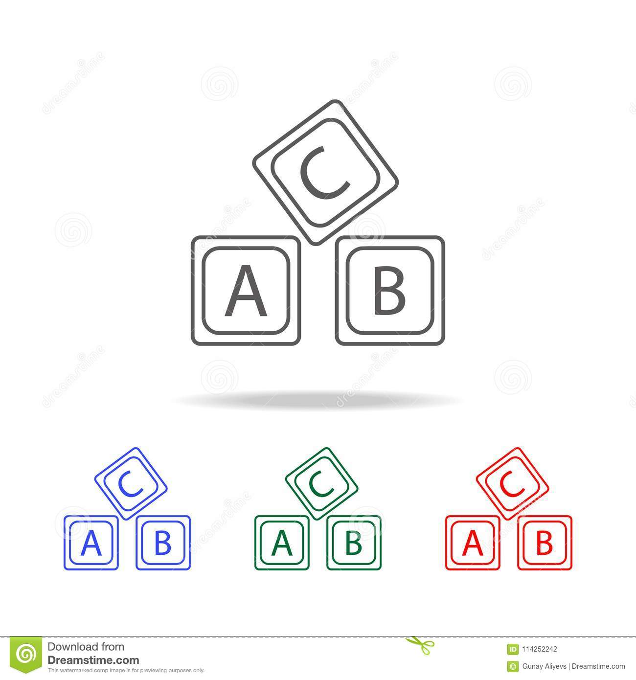 letter A B C logo alphabet icon. Elements of education multi colored icons. Premium quality graphic design icon. Simple icon for w