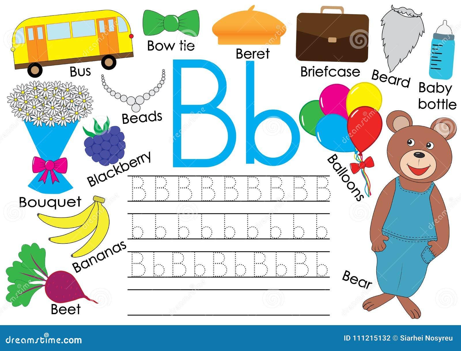 Letter B. English Alphabet. Writing Practice For Children