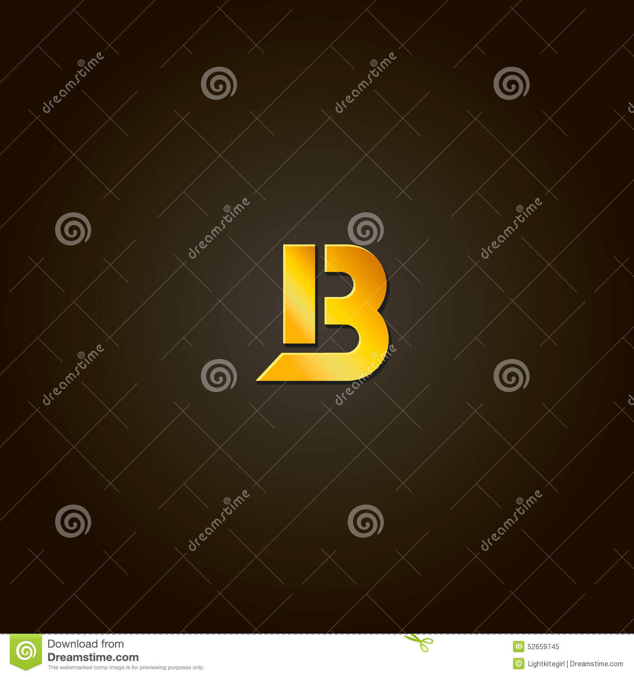 Letter B Gold Font Template For Company Logo Stock