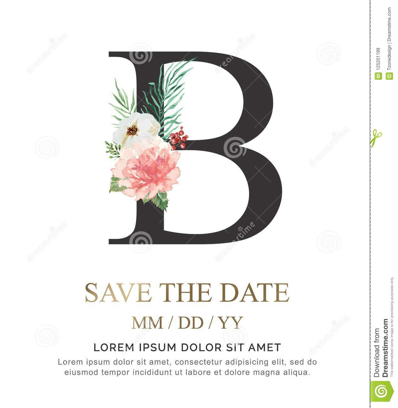 letter b hand paint watercolor flower and leaf for wedding and invite cards