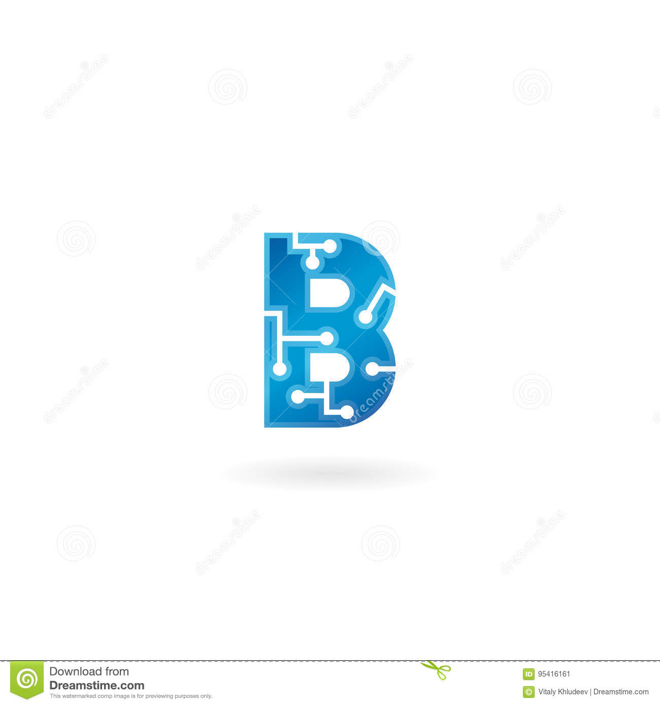 Letter B icon. Technology Smart logo, computer and data related business, hi-tech and innovative, electronic.