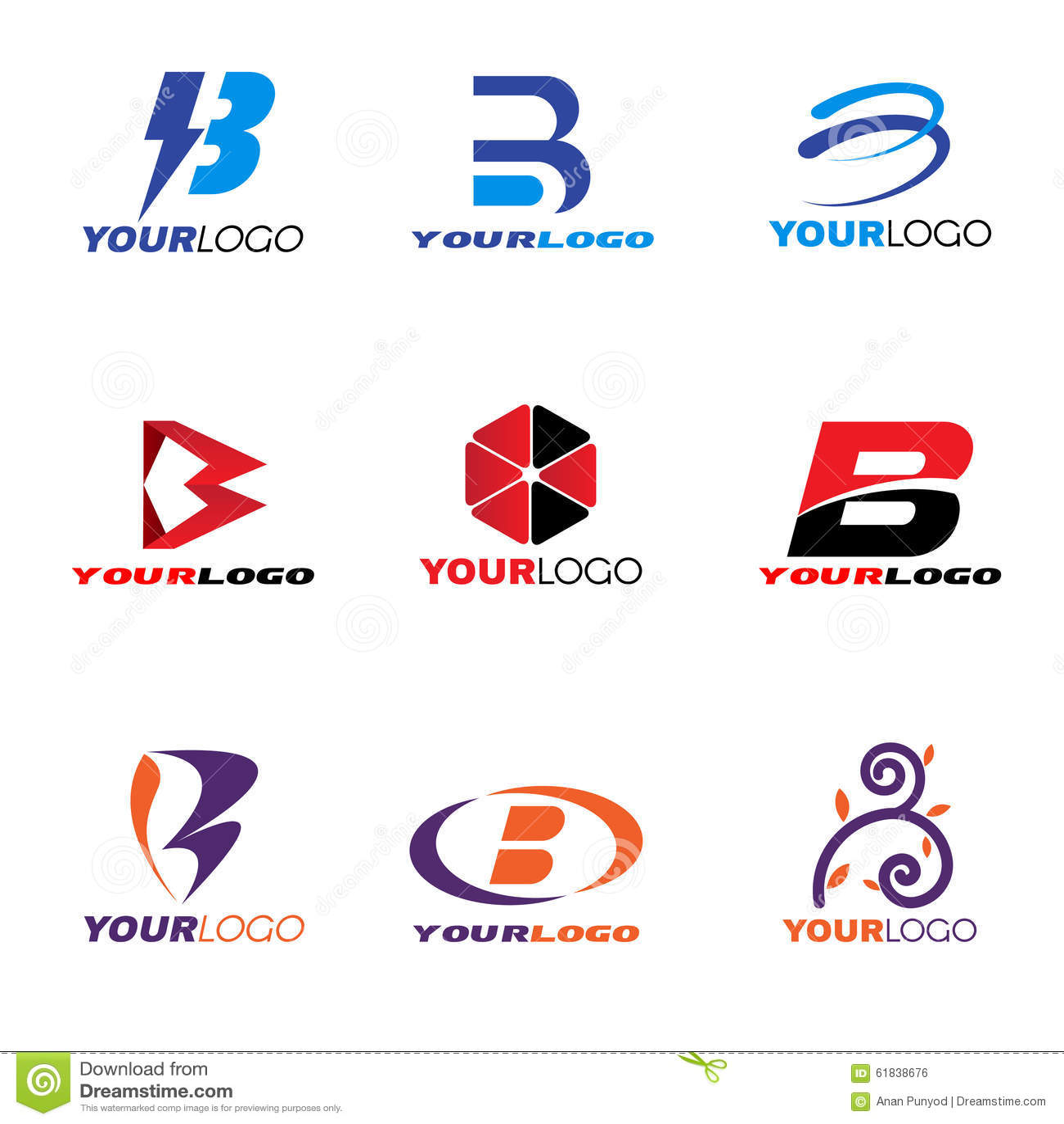 Letter B Logo Vector Set Design Stock Vector - Image: 61838676