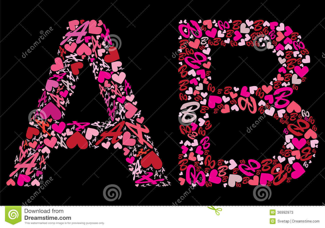 The Gallery For R Love Alphabet Wallpapers: Letter A, B. Valentine Alphabet Stock Vector