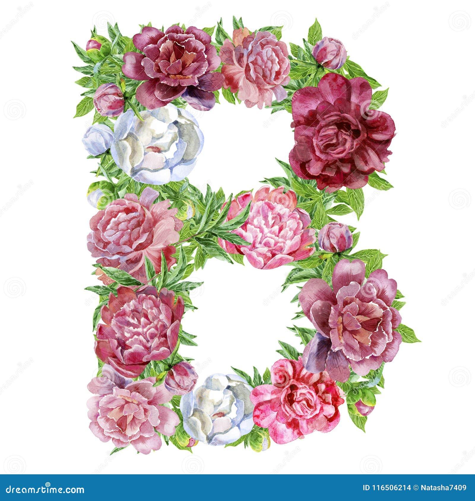 Letter B Of Watercolor Flowers Stock Illustration