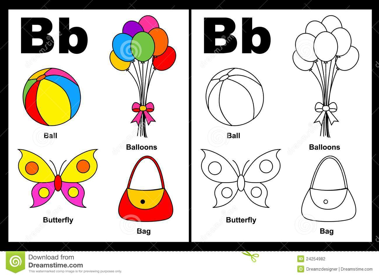Alphabet letter B with colorful cliparts and coloring graphics ...